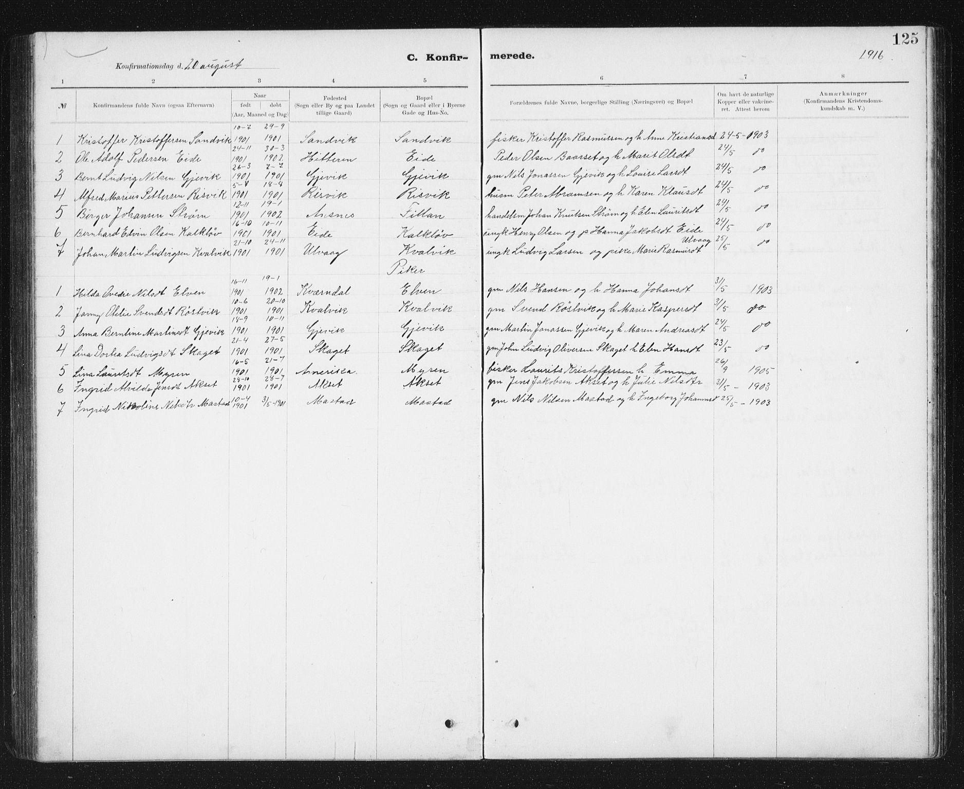 SAT, Ministerialprotokoller, klokkerbøker og fødselsregistre - Sør-Trøndelag, 637/L0563: Klokkerbok nr. 637C04, 1899-1940, s. 125