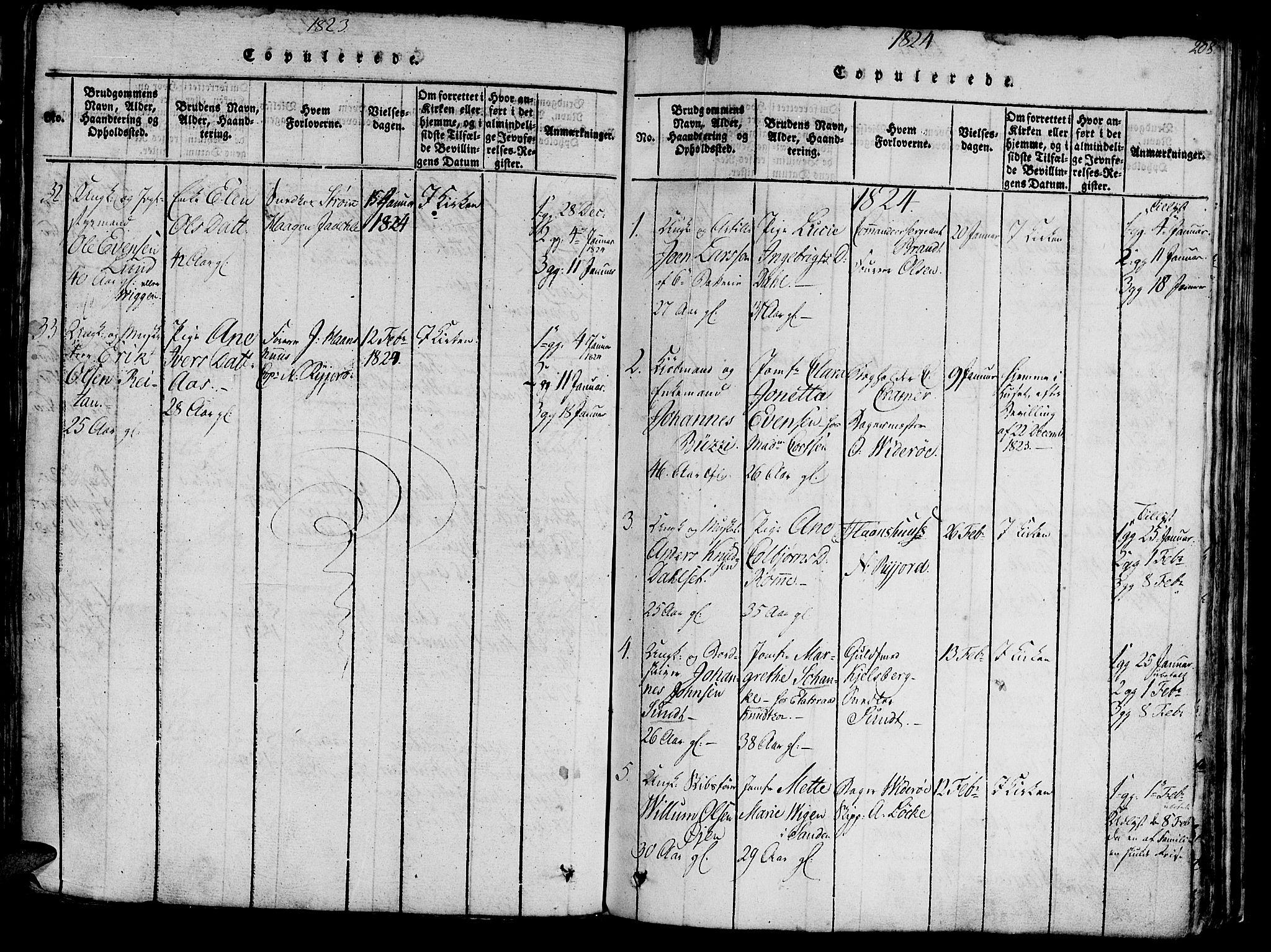 SAT, Ministerialprotokoller, klokkerbøker og fødselsregistre - Sør-Trøndelag, 602/L0135: Klokkerbok nr. 602C03, 1815-1832, s. 208