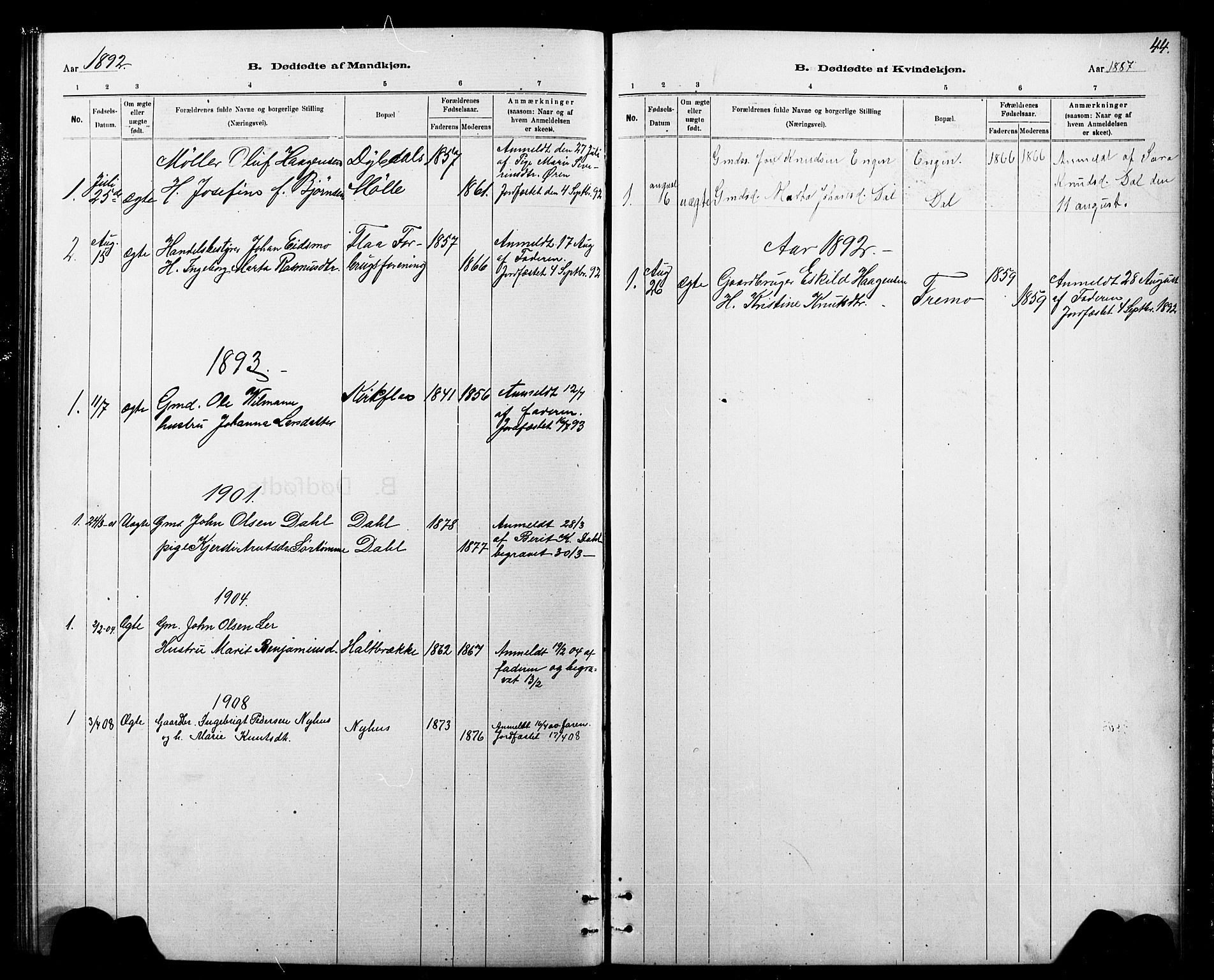 SAT, Ministerialprotokoller, klokkerbøker og fødselsregistre - Sør-Trøndelag, 693/L1123: Klokkerbok nr. 693C04, 1887-1910, s. 44