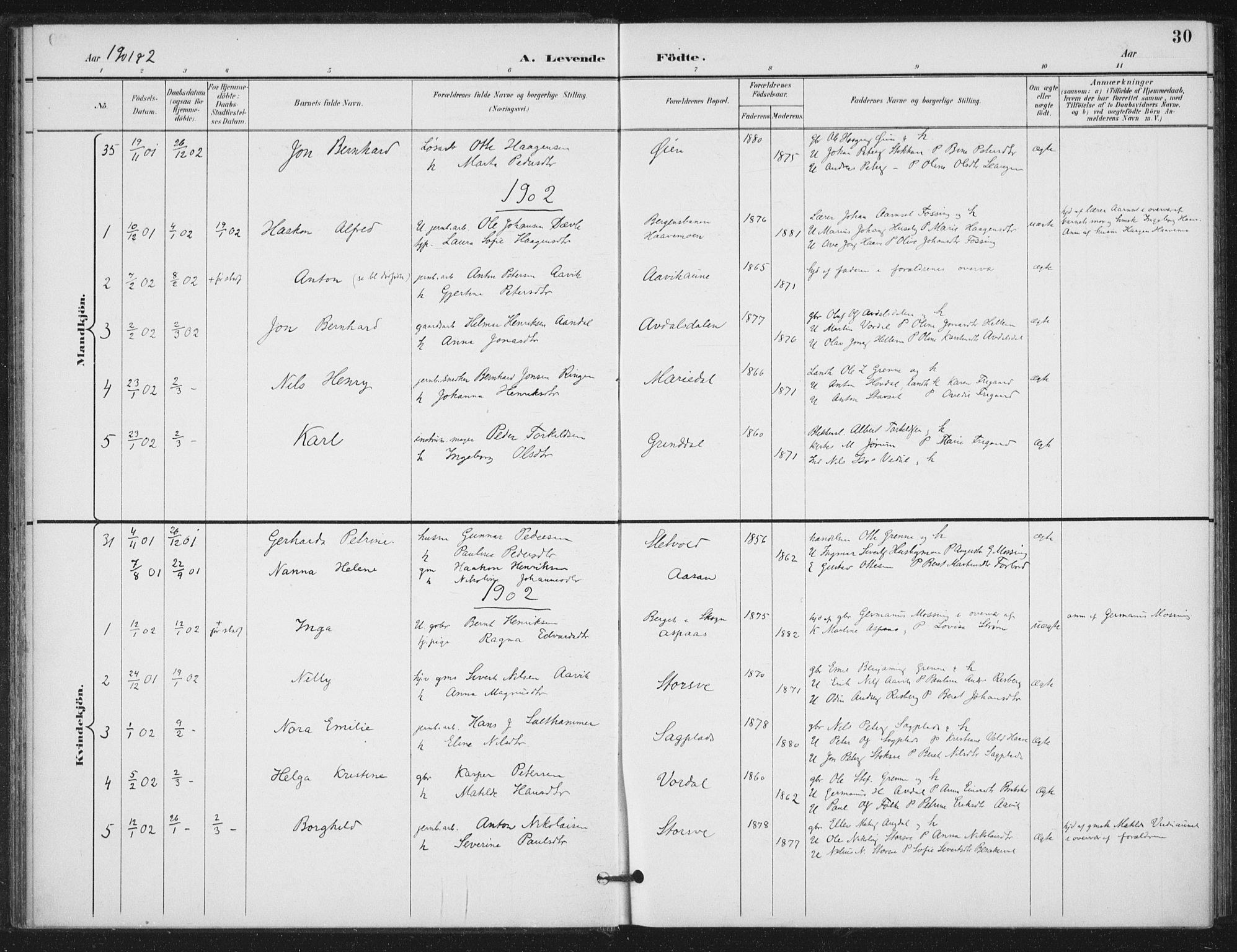 SAT, Ministerialprotokoller, klokkerbøker og fødselsregistre - Nord-Trøndelag, 714/L0131: Ministerialbok nr. 714A02, 1896-1918, s. 30