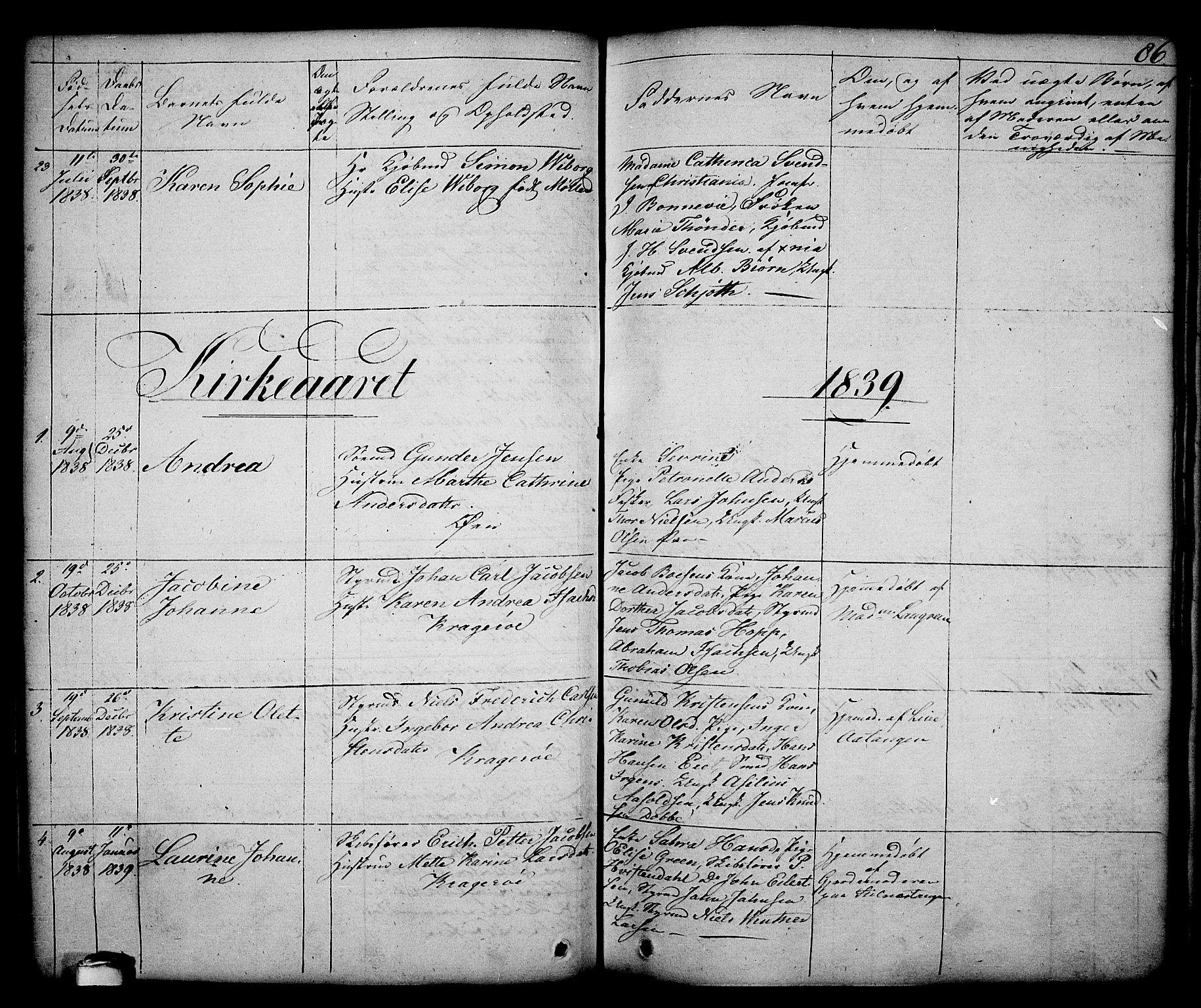 SAKO, Kragerø kirkebøker, G/Ga/L0003: Klokkerbok nr. 3, 1832-1852, s. 86