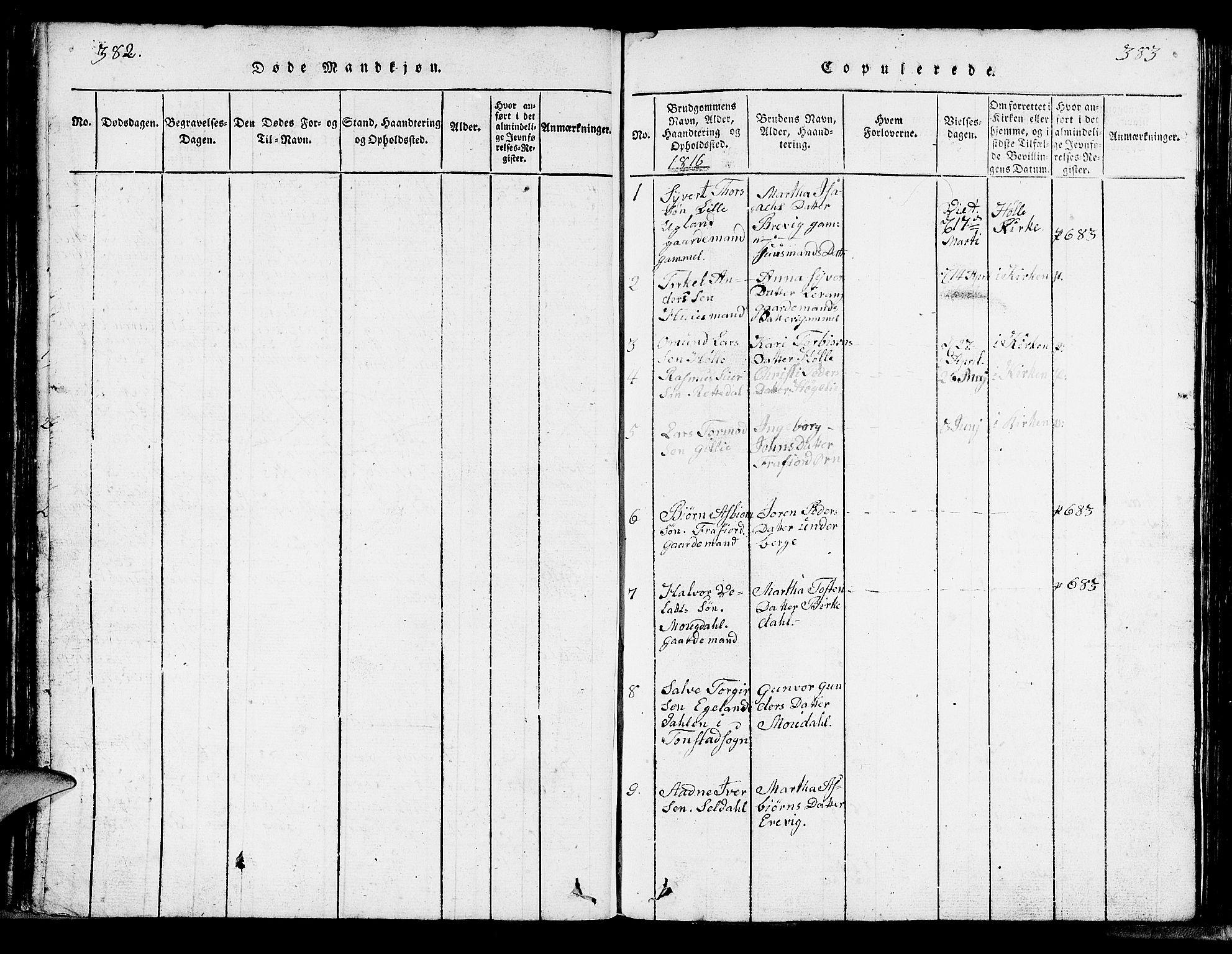 SAST, Strand sokneprestkontor, H/Ha/Hab/L0002: Klokkerbok nr. B 2, 1816-1854, s. 382-383