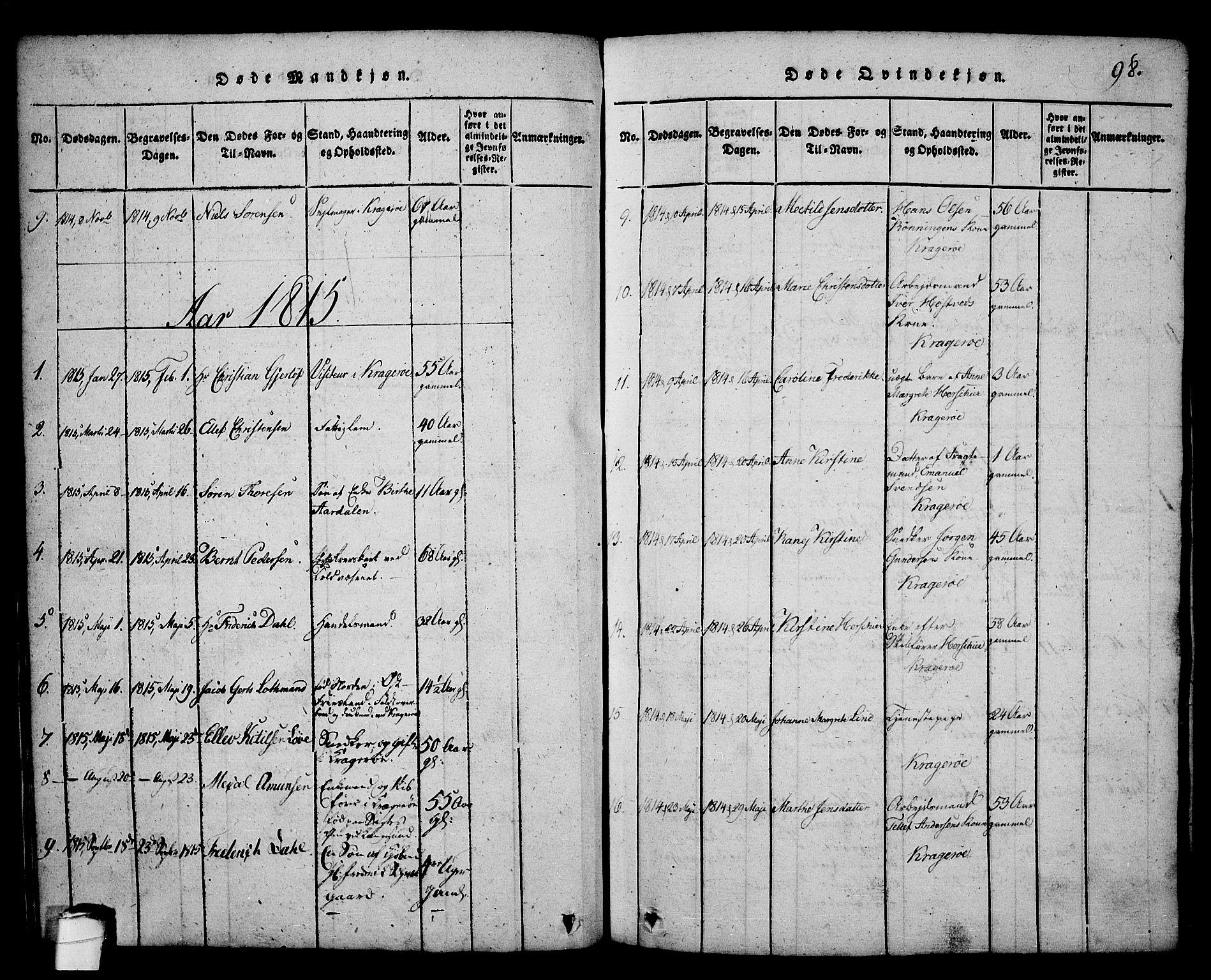 SAKO, Kragerø kirkebøker, G/Ga/L0002: Klokkerbok nr. 2, 1814-1831, s. 98