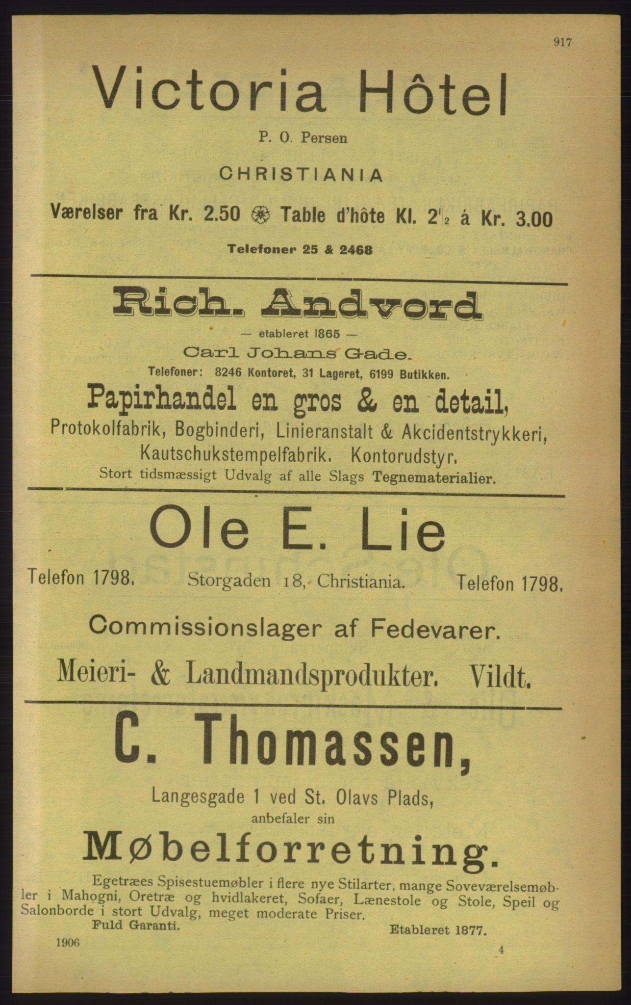RA, Kristiania adressebok (publikasjon)*, 1906, s. 917
