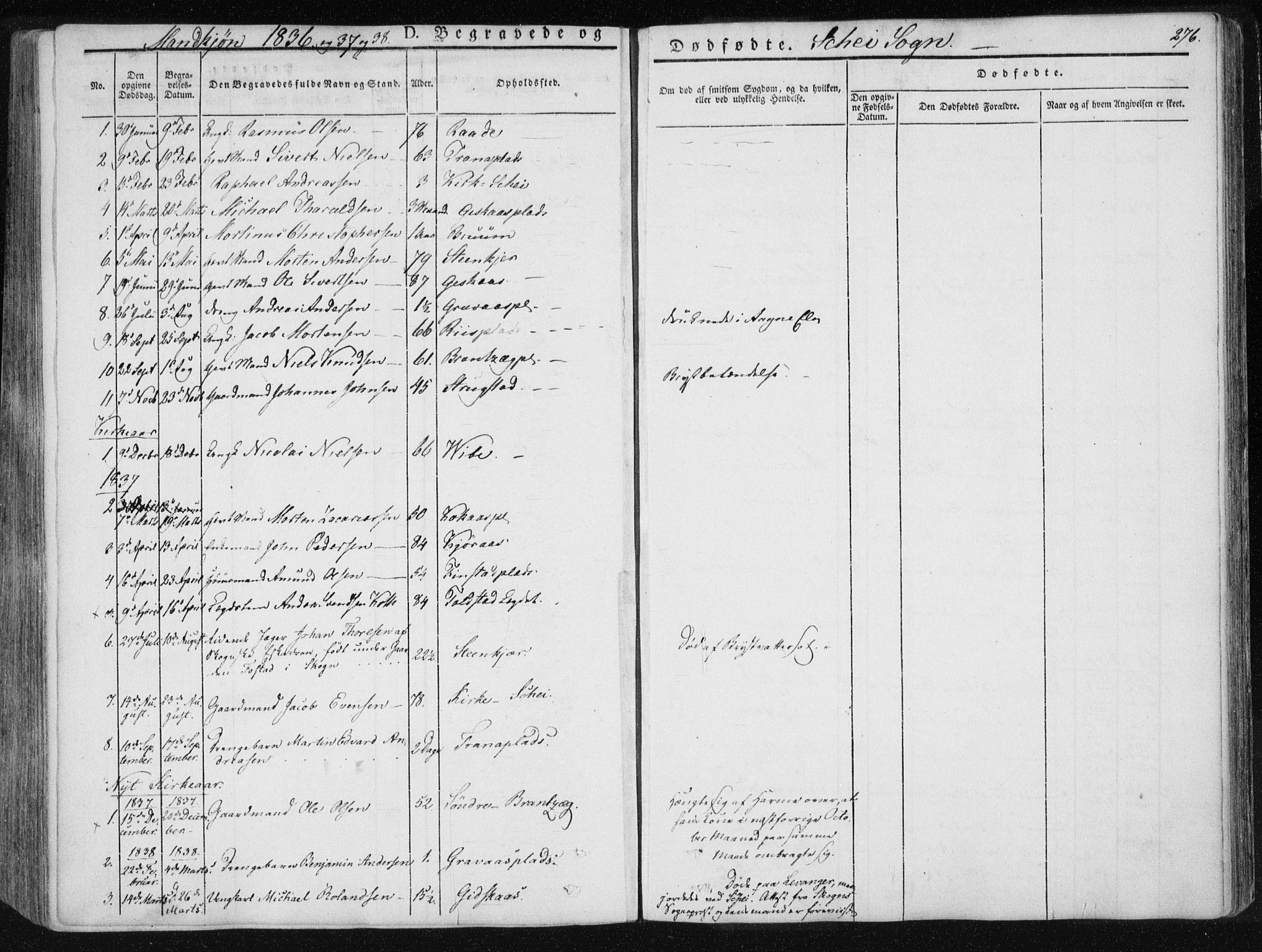 SAT, Ministerialprotokoller, klokkerbøker og fødselsregistre - Nord-Trøndelag, 735/L0339: Ministerialbok nr. 735A06 /2, 1836-1848, s. 276