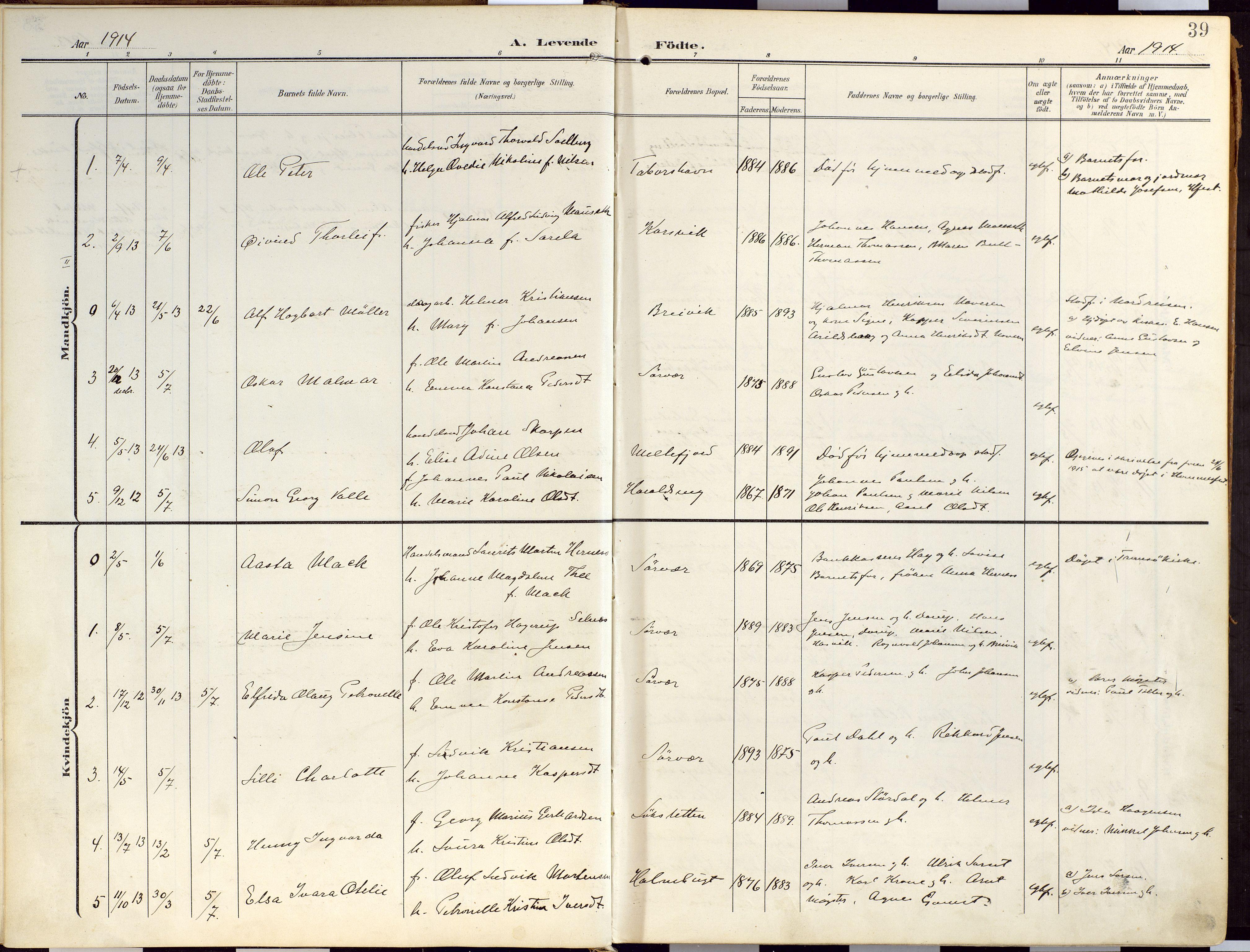 SATØ, Loppa sokneprestkontor, H/Ha/L0010kirke: Ministerialbok nr. 10, 1907-1922, s. 39
