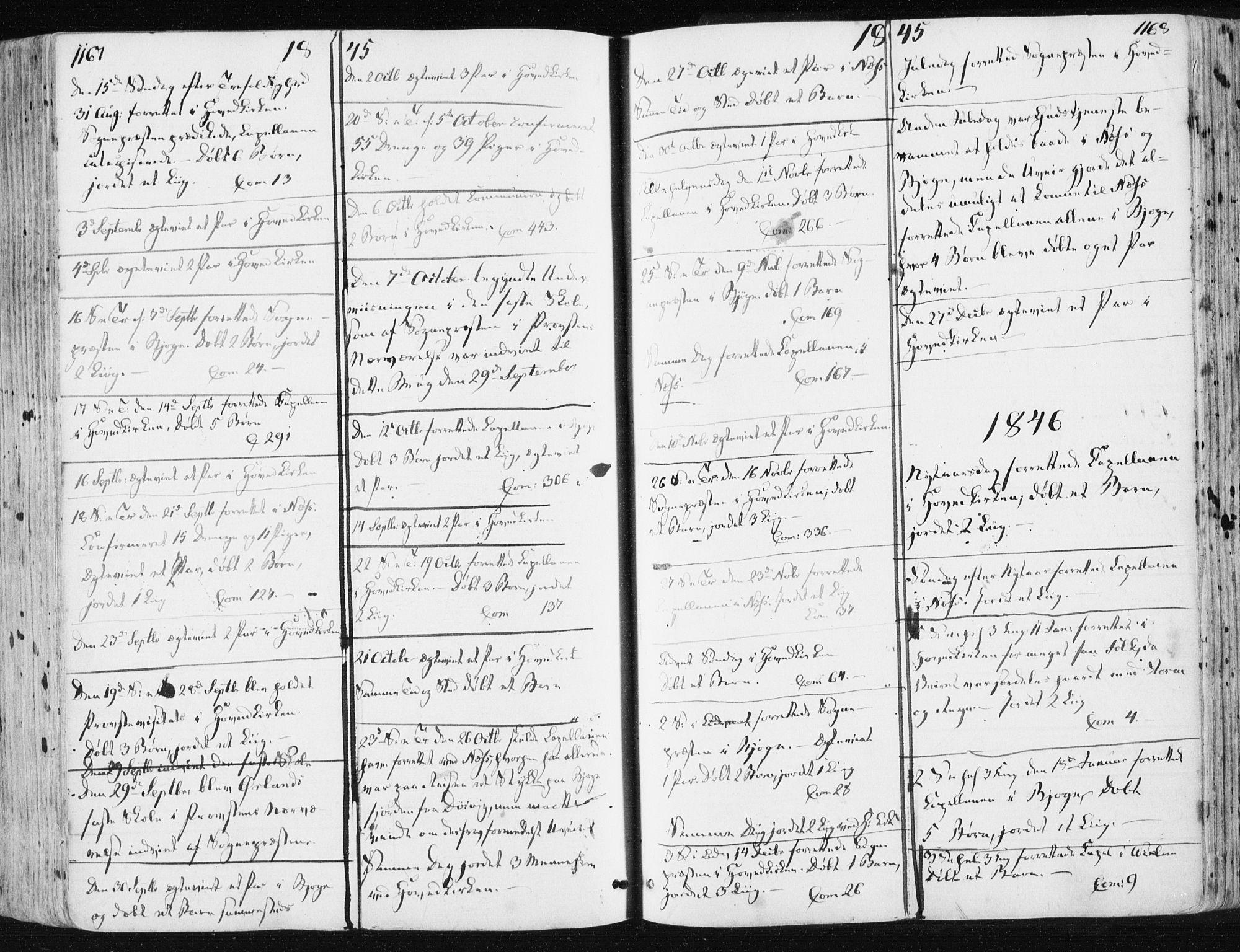 SAT, Ministerialprotokoller, klokkerbøker og fødselsregistre - Sør-Trøndelag, 659/L0736: Ministerialbok nr. 659A06, 1842-1856, s. 1167-1168