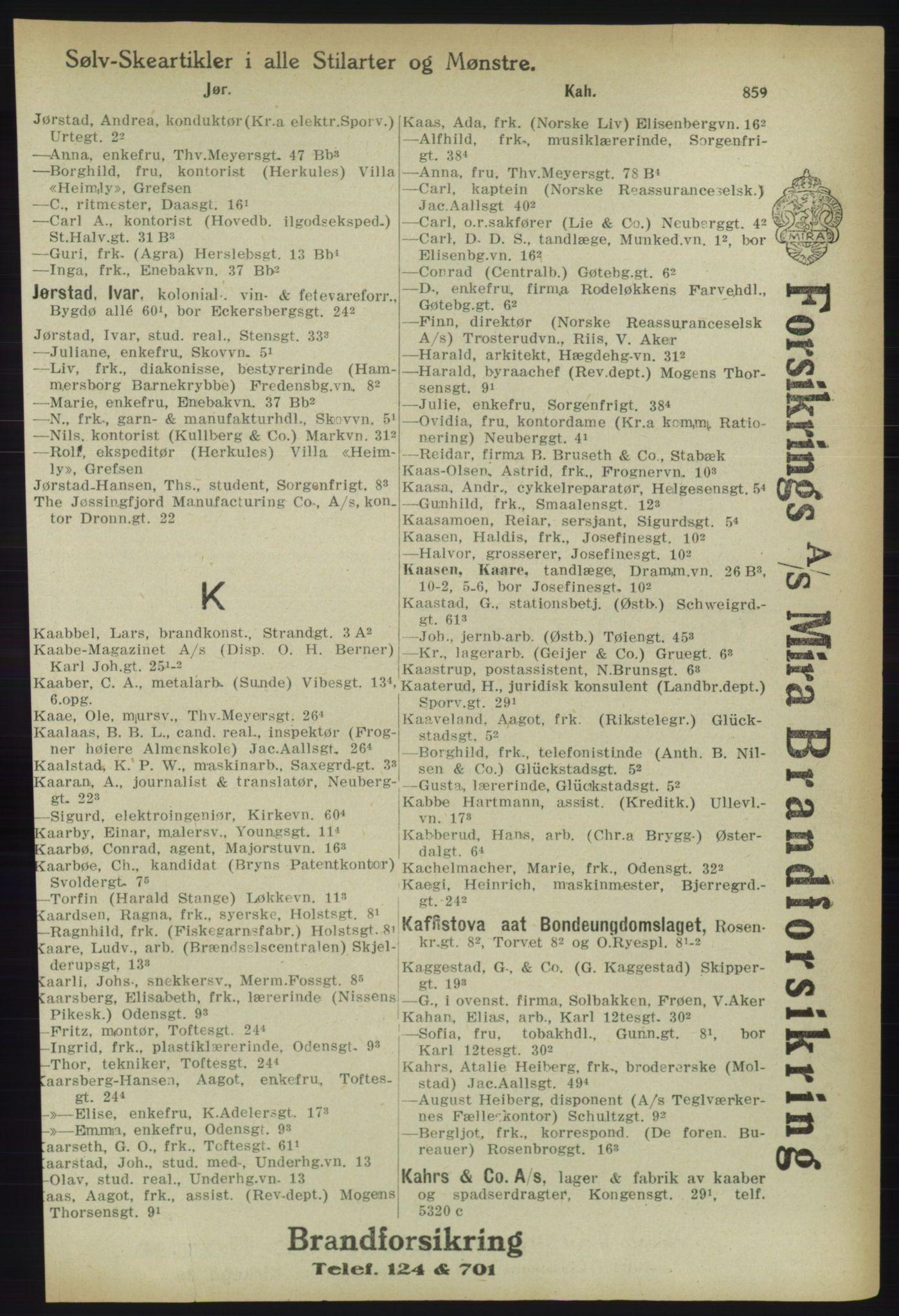 RA, Kristiania adressebok (publikasjon)*, 1918, s. 859
