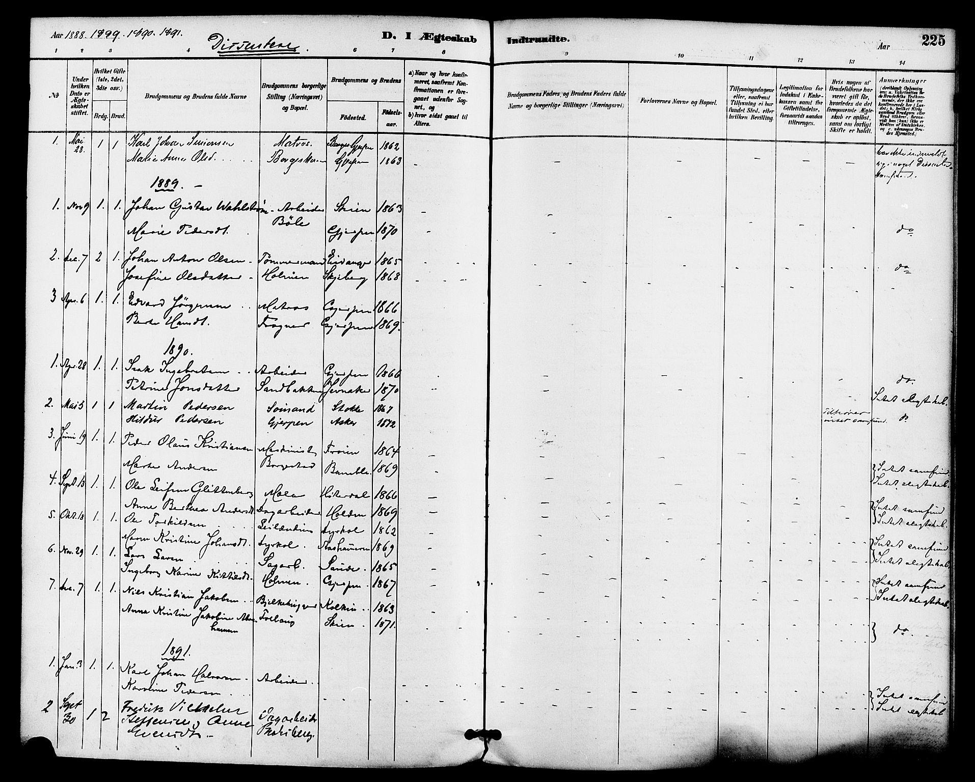 SAKO, Gjerpen kirkebøker, F/Fa/L0010: Ministerialbok nr. 10, 1886-1895, s. 225