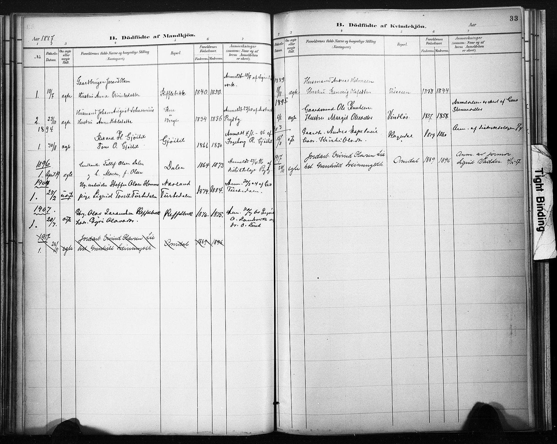 SAKO, Lårdal kirkebøker, F/Fb/L0002: Ministerialbok nr. II 2, 1887-1918, s. 33
