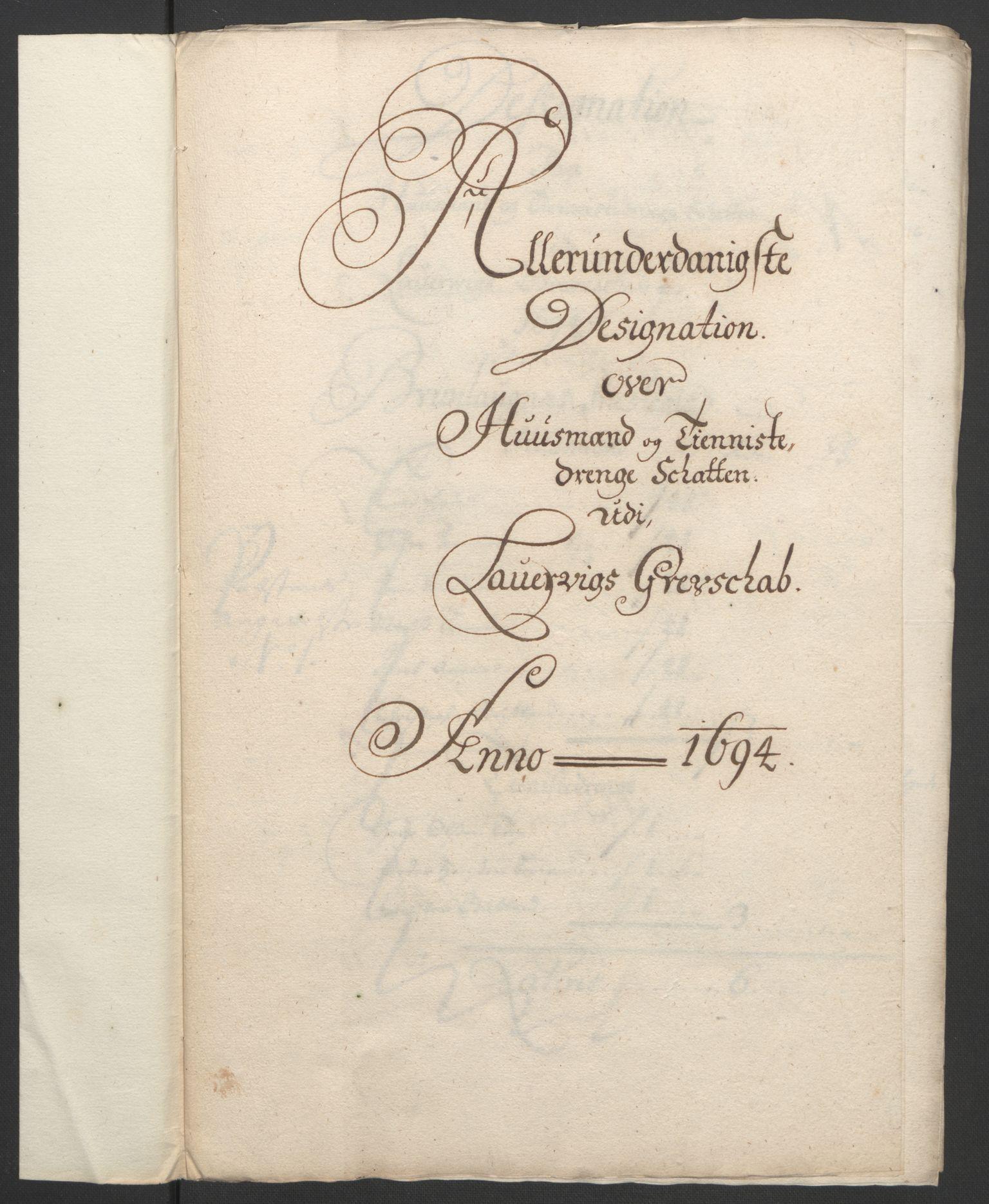RA, Rentekammeret inntil 1814, Reviderte regnskaper, Fogderegnskap, R33/L1974: Fogderegnskap Larvik grevskap, 1693-1695, s. 160