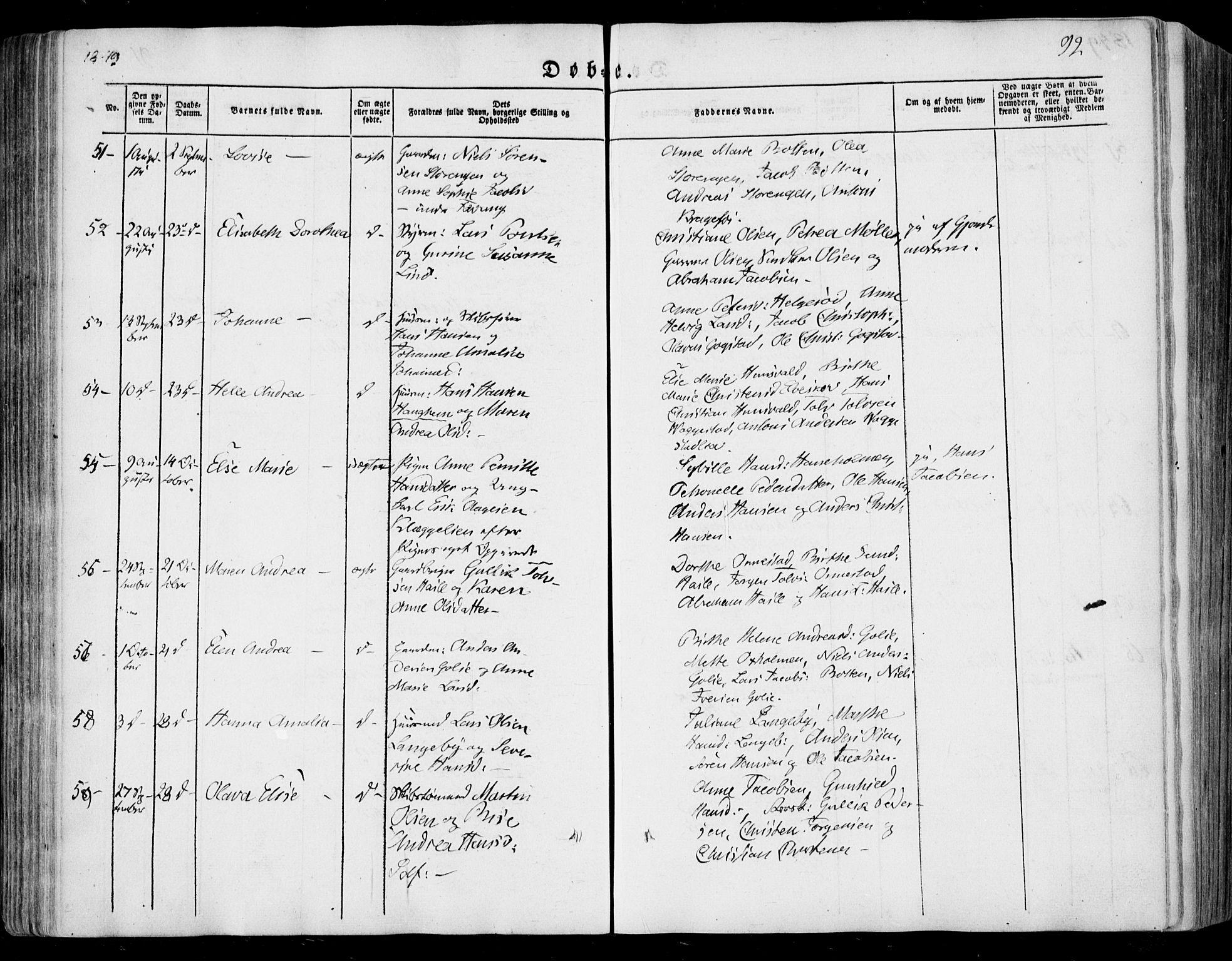 SAKO, Sandar kirkebøker, F/Fa/L0006: Ministerialbok nr. 6, 1847-1860, s. 92
