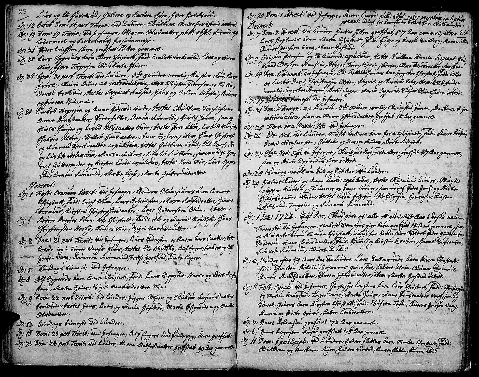 SAH, Jevnaker prestekontor, Ministerialbok nr. 1, 1718-1725, s. 23-24
