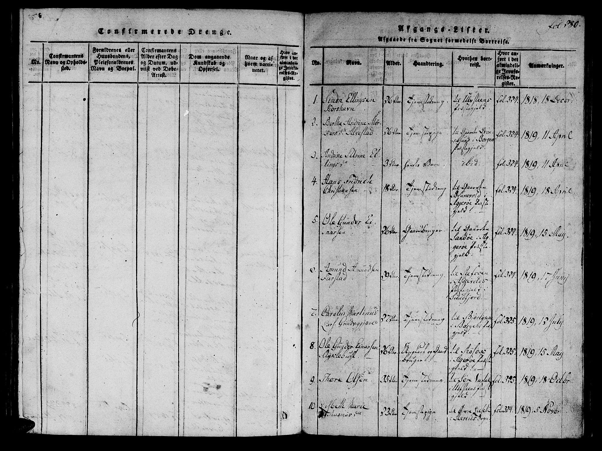 SAT, Ministerialprotokoller, klokkerbøker og fødselsregistre - Møre og Romsdal, 536/L0495: Ministerialbok nr. 536A04, 1818-1847, s. 280