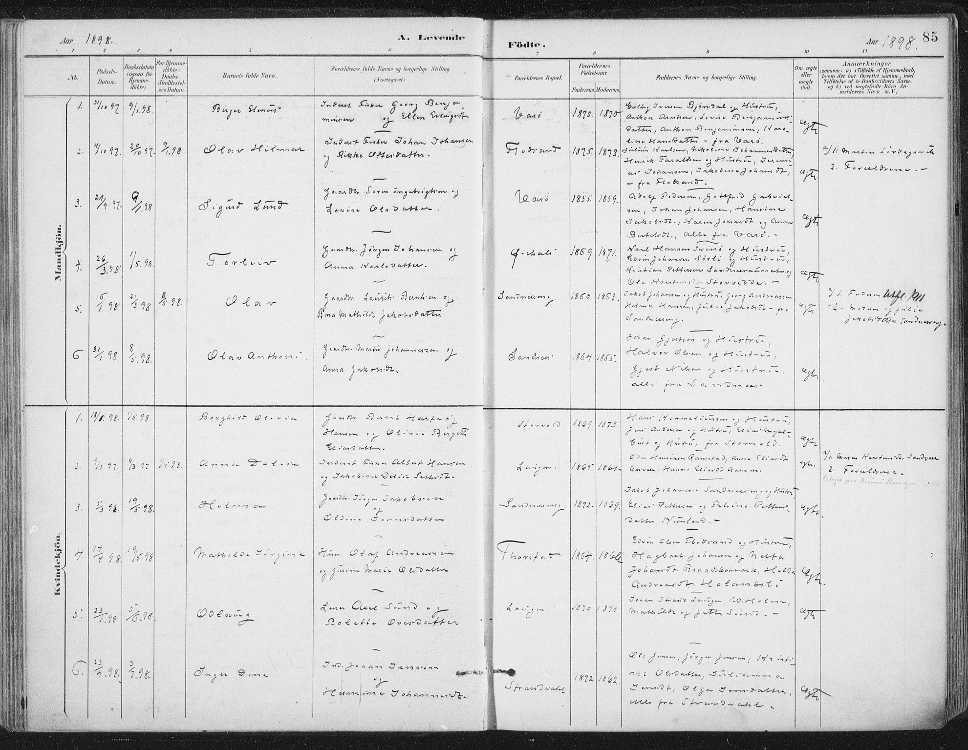 SAT, Ministerialprotokoller, klokkerbøker og fødselsregistre - Nord-Trøndelag, 784/L0673: Ministerialbok nr. 784A08, 1888-1899, s. 85