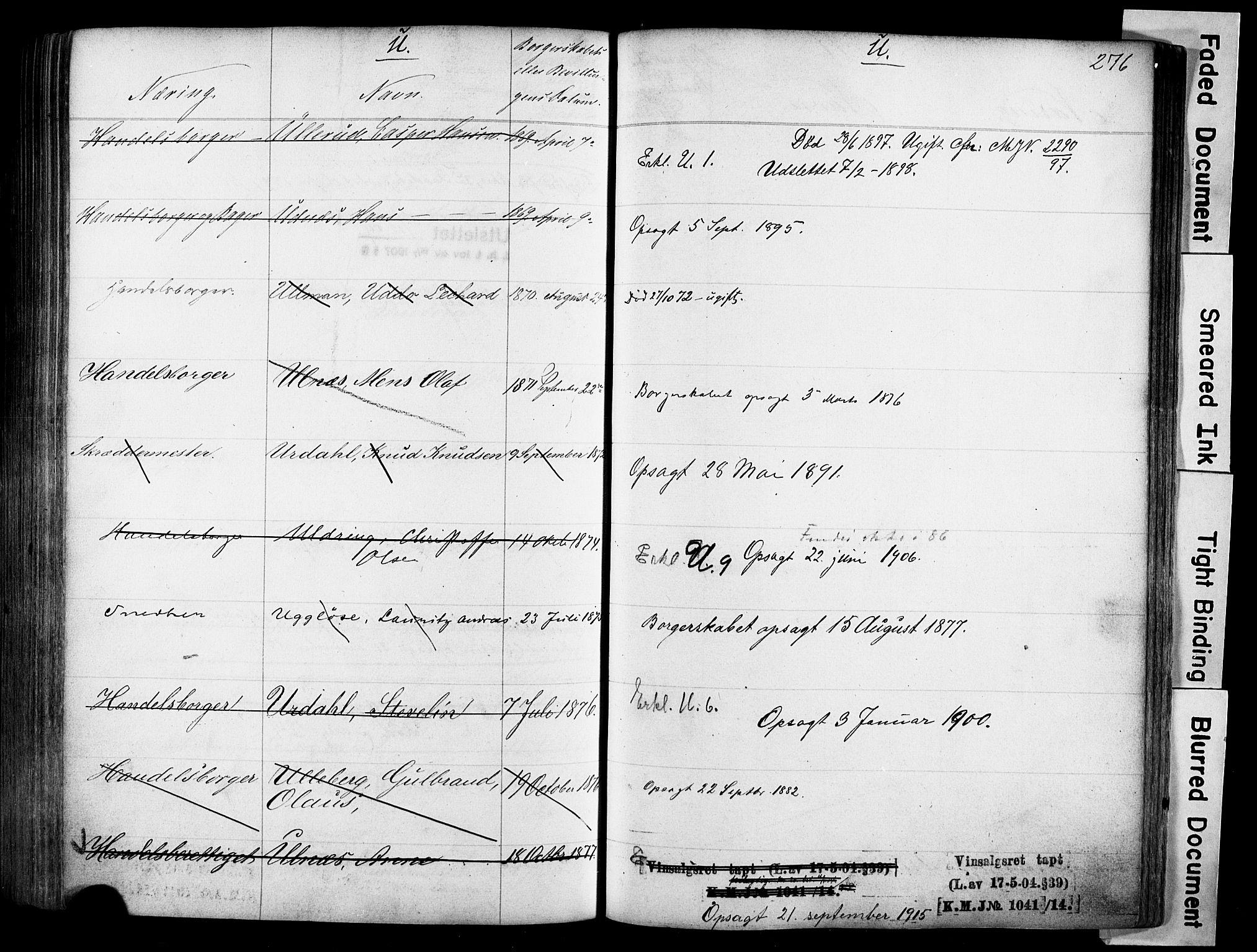 SAO, Kristiania magistrat, F/Fb/L0004: Borgerrulle, 1860-1879, s. 278