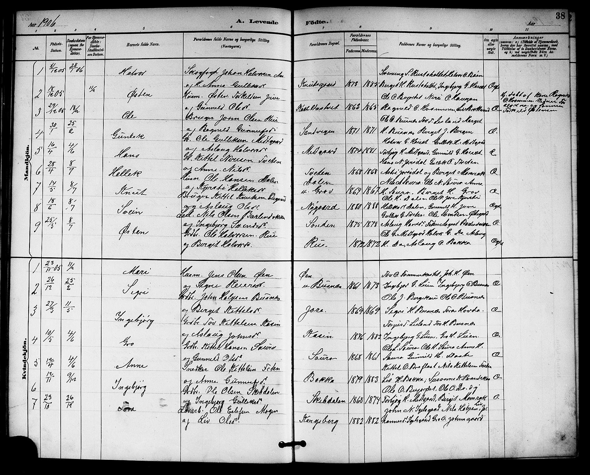 SAKO, Gransherad kirkebøker, G/Gb/L0003: Klokkerbok nr. II 3, 1887-1921, s. 38