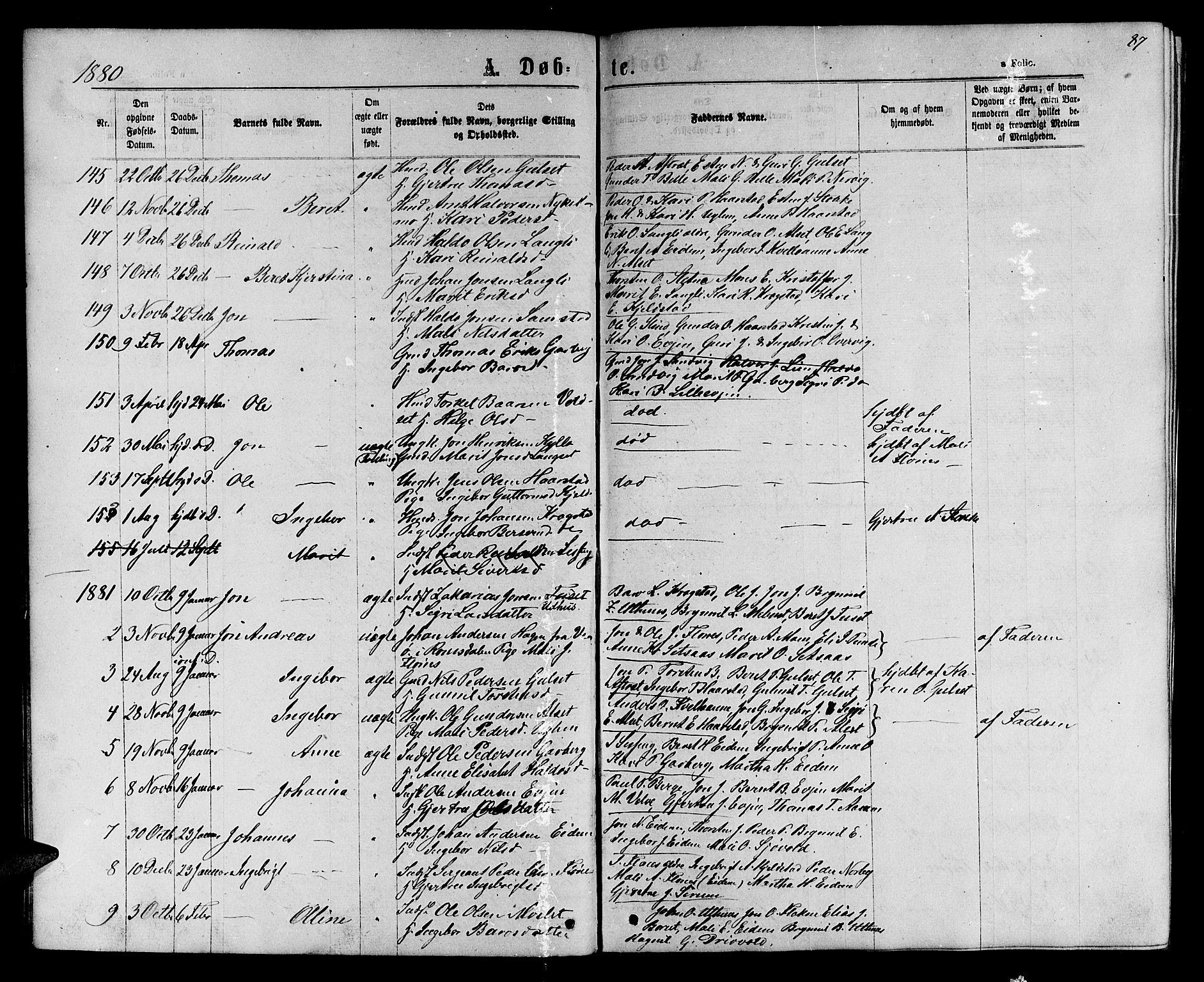 SAT, Ministerialprotokoller, klokkerbøker og fødselsregistre - Sør-Trøndelag, 695/L1156: Klokkerbok nr. 695C07, 1869-1888, s. 87