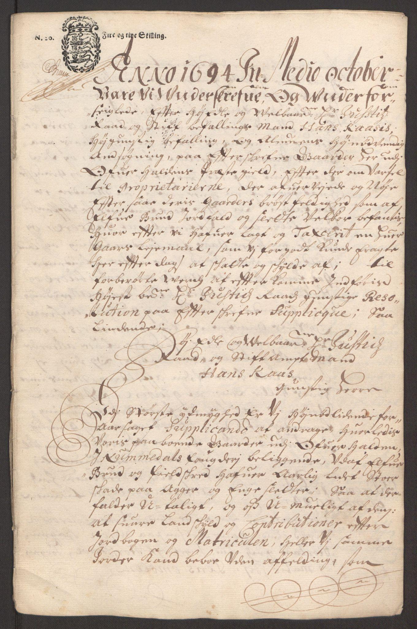 RA, Rentekammeret inntil 1814, Reviderte regnskaper, Fogderegnskap, R64/L4424: Fogderegnskap Namdal, 1692-1695, s. 432