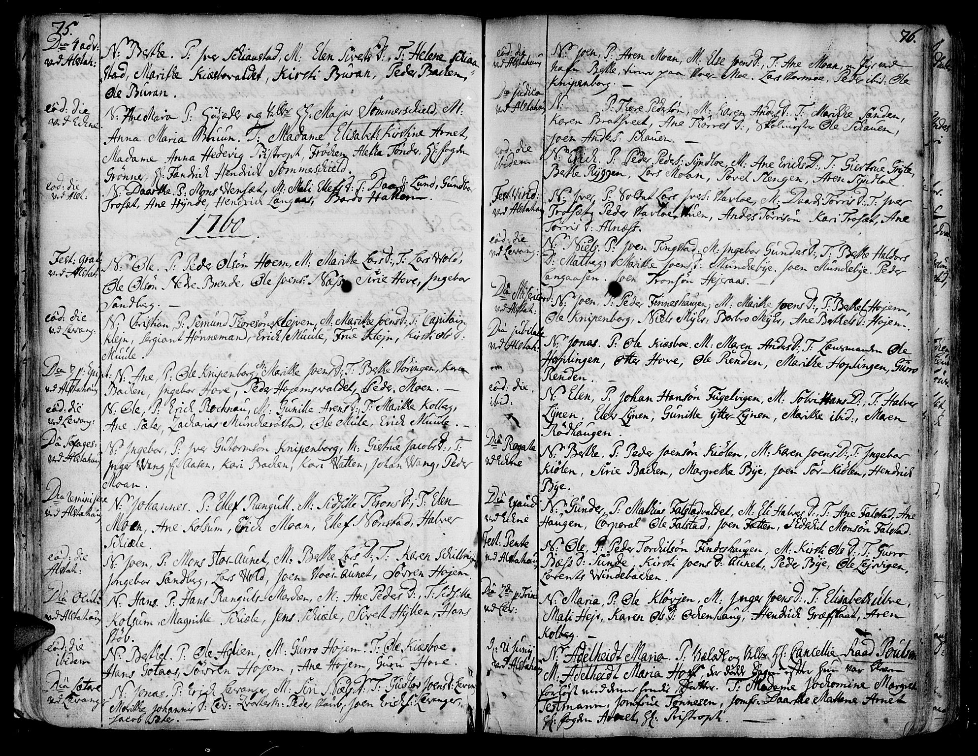 SAT, Ministerialprotokoller, klokkerbøker og fødselsregistre - Nord-Trøndelag, 717/L0141: Ministerialbok nr. 717A01, 1747-1803, s. 75-76