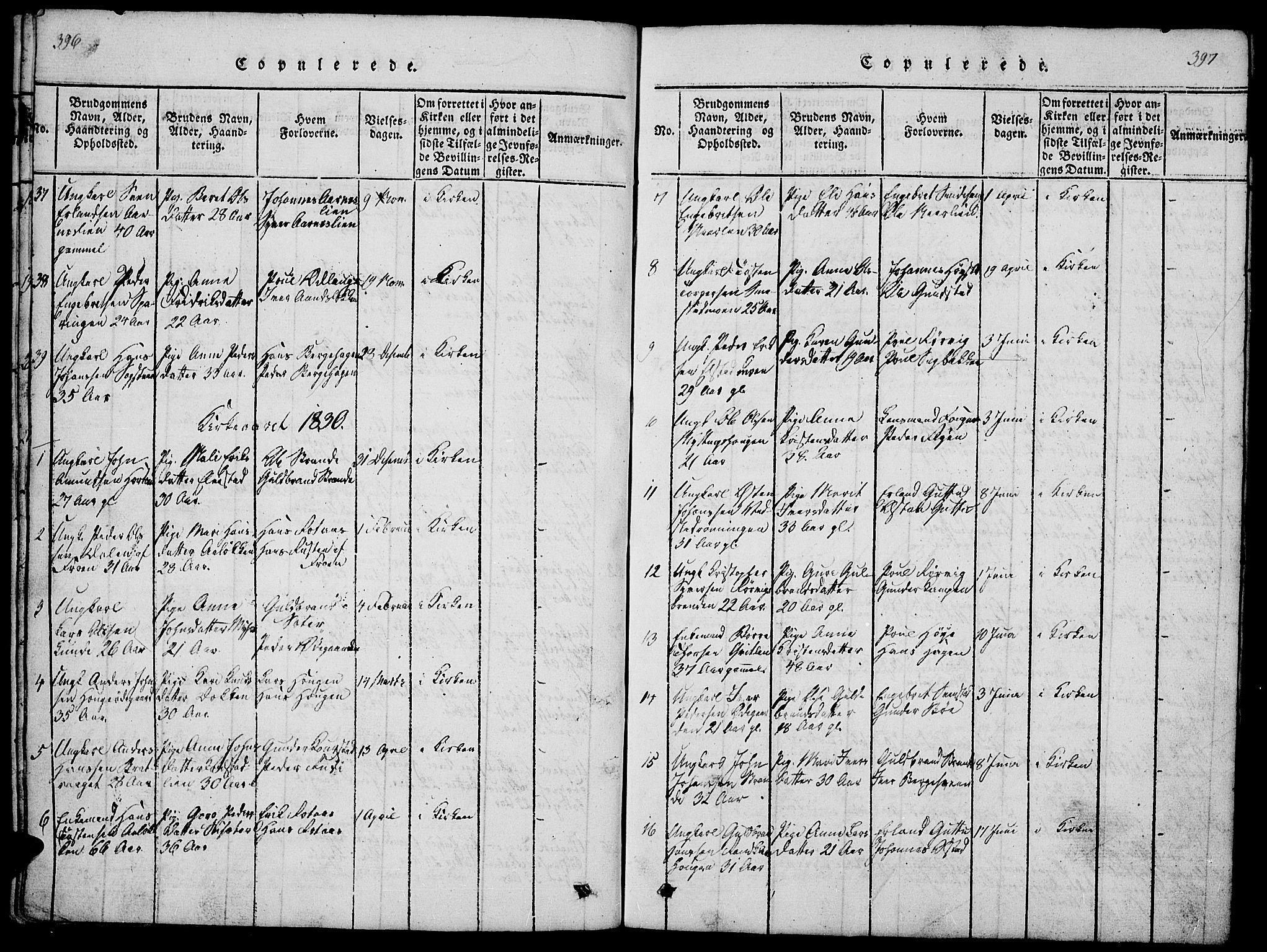 SAH, Ringebu prestekontor, Klokkerbok nr. 1, 1821-1839, s. 396-397
