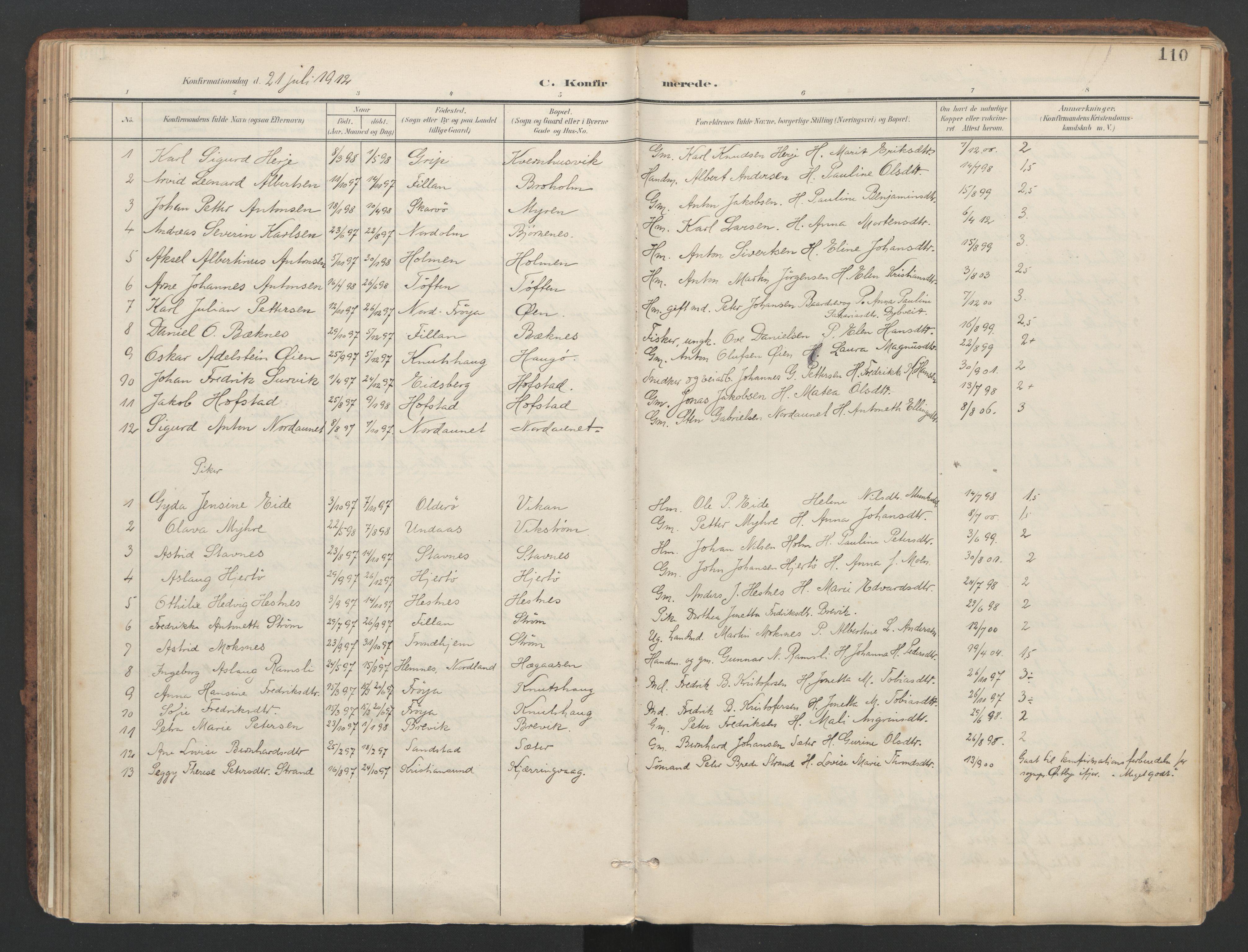 SAT, Ministerialprotokoller, klokkerbøker og fødselsregistre - Sør-Trøndelag, 634/L0537: Ministerialbok nr. 634A13, 1896-1922, s. 110