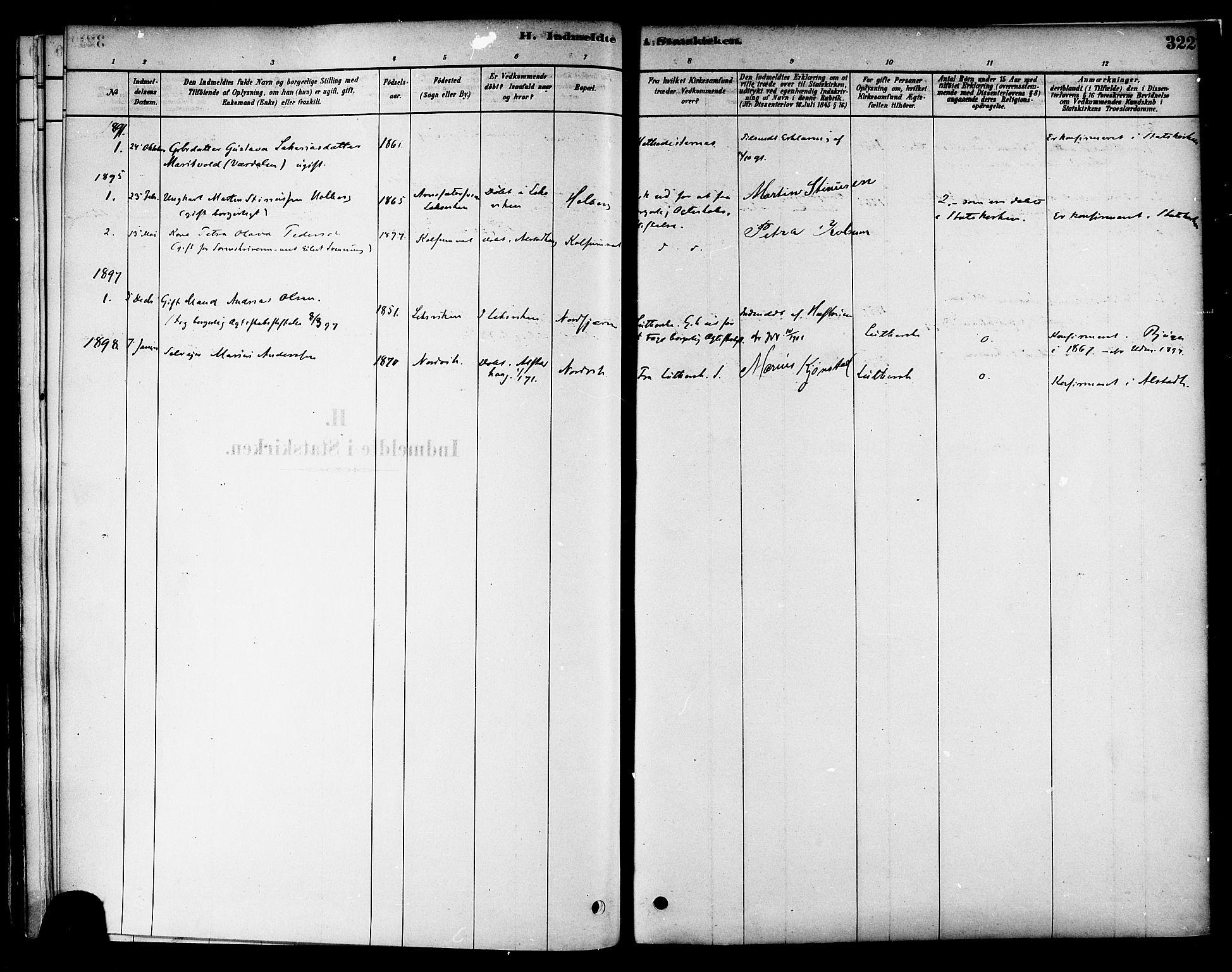 SAT, Ministerialprotokoller, klokkerbøker og fødselsregistre - Nord-Trøndelag, 717/L0159: Ministerialbok nr. 717A09, 1878-1898, s. 322