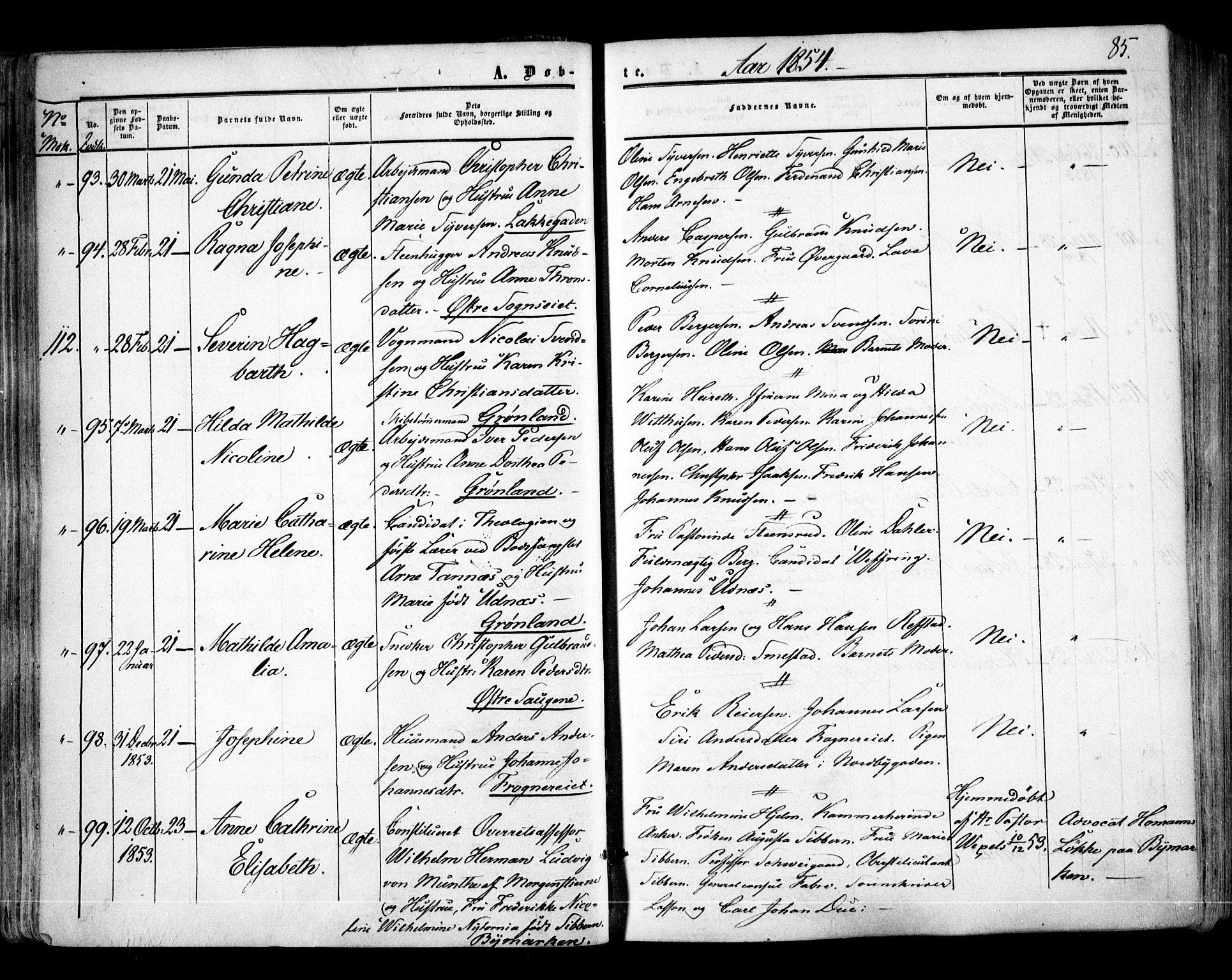SAO, Aker prestekontor kirkebøker, F/L0020: Ministerialbok nr. 20, 1853-1857, s. 85