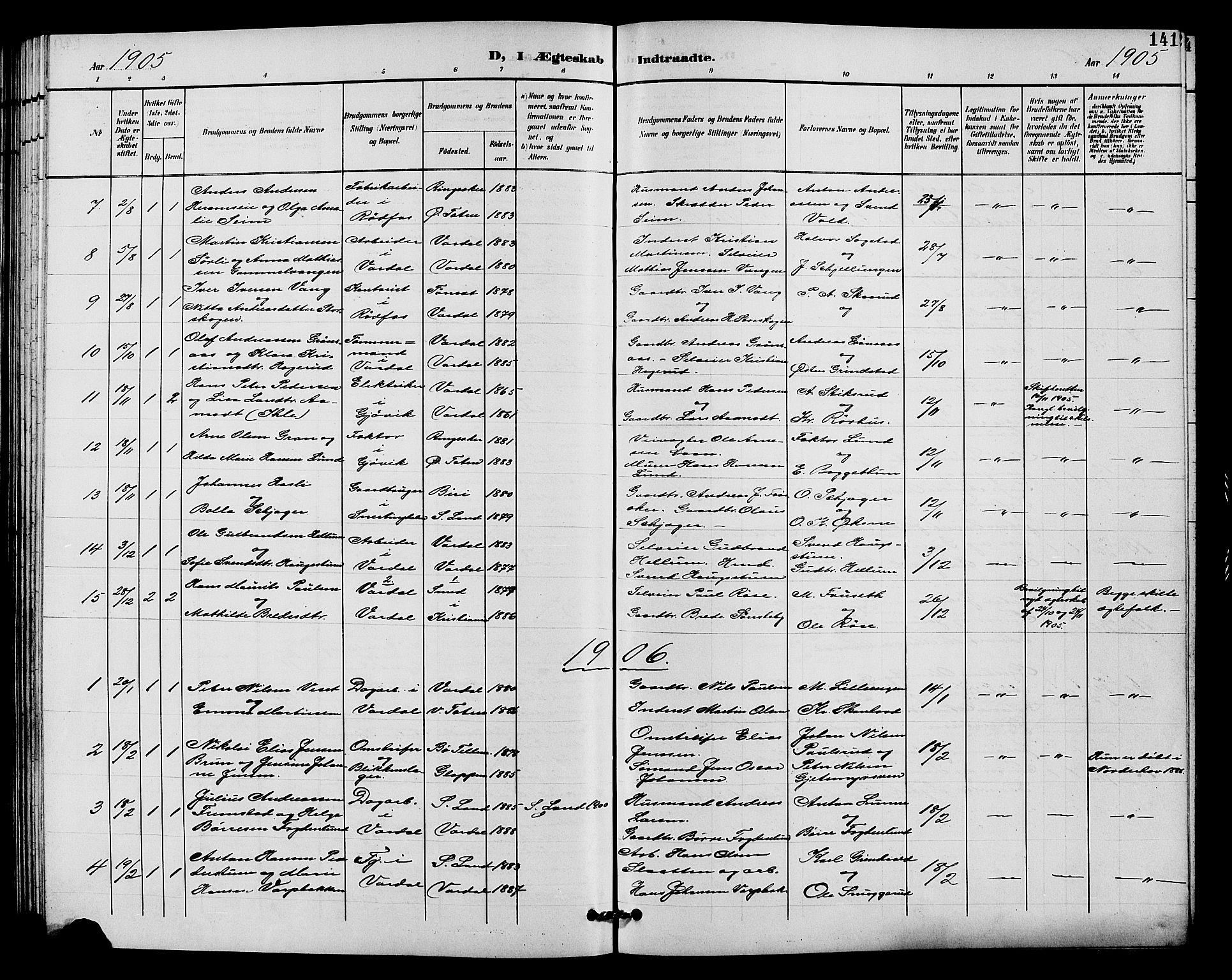 SAH, Vardal prestekontor, H/Ha/Hab/L0011: Klokkerbok nr. 11, 1899-1913, s. 141