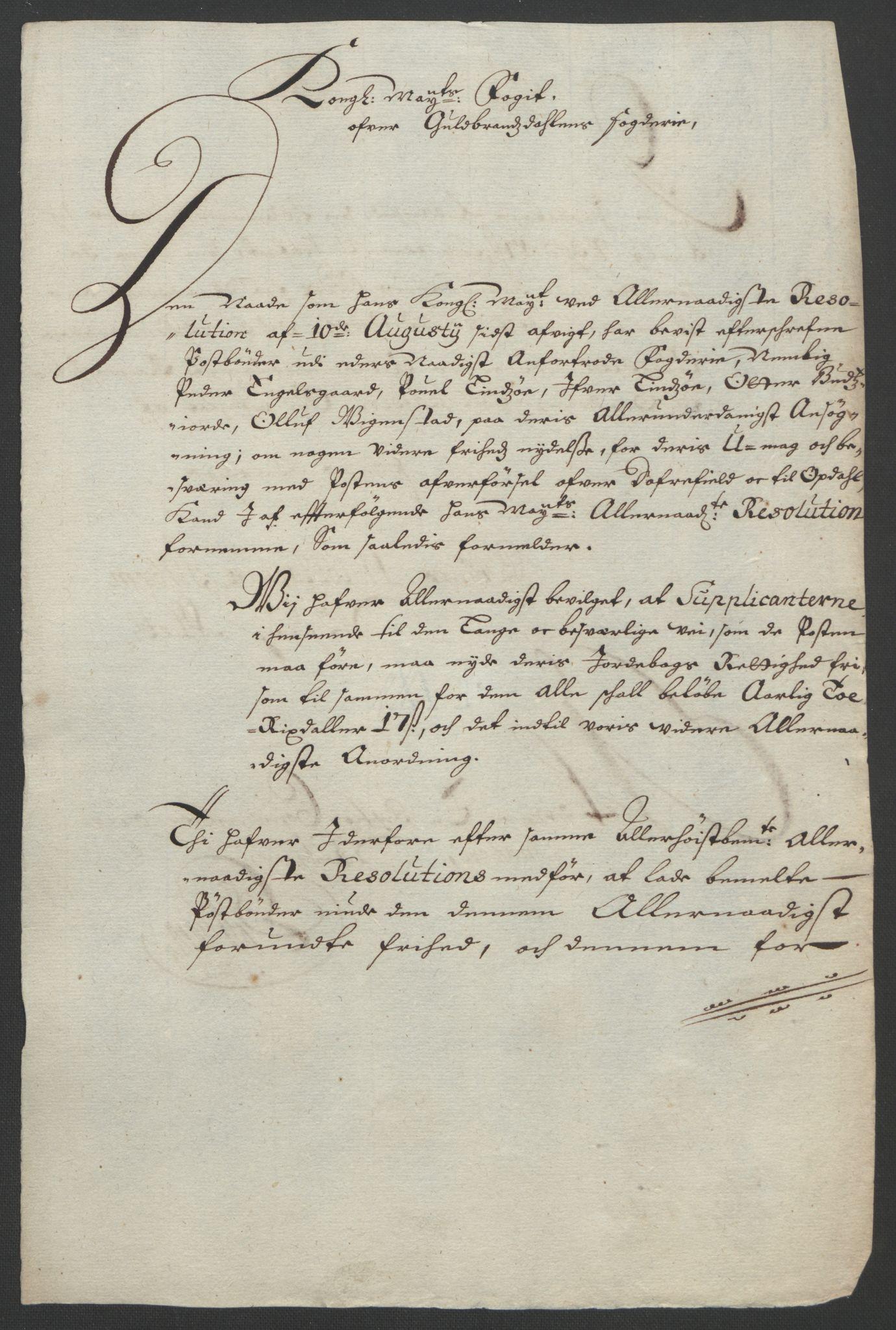 RA, Rentekammeret inntil 1814, Reviderte regnskaper, Fogderegnskap, R17/L1169: Fogderegnskap Gudbrandsdal, 1695, s. 160