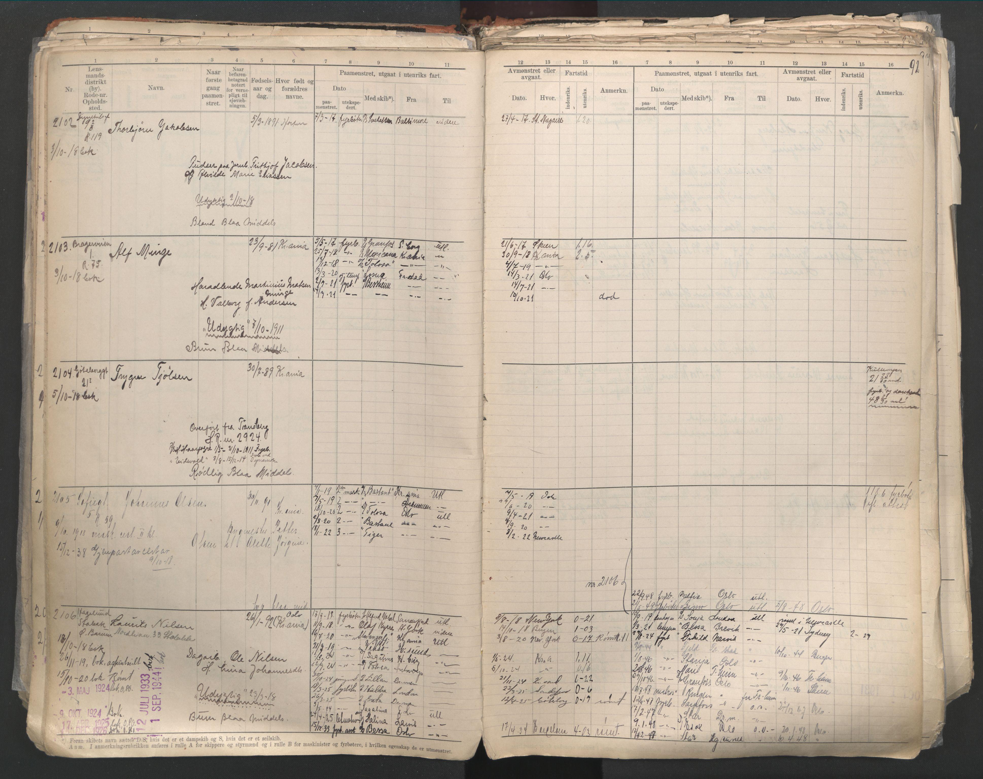SAO, Oslo sjømannskontor, F/Fd/L0003: B-rulle, 1916, s. 91b-92a