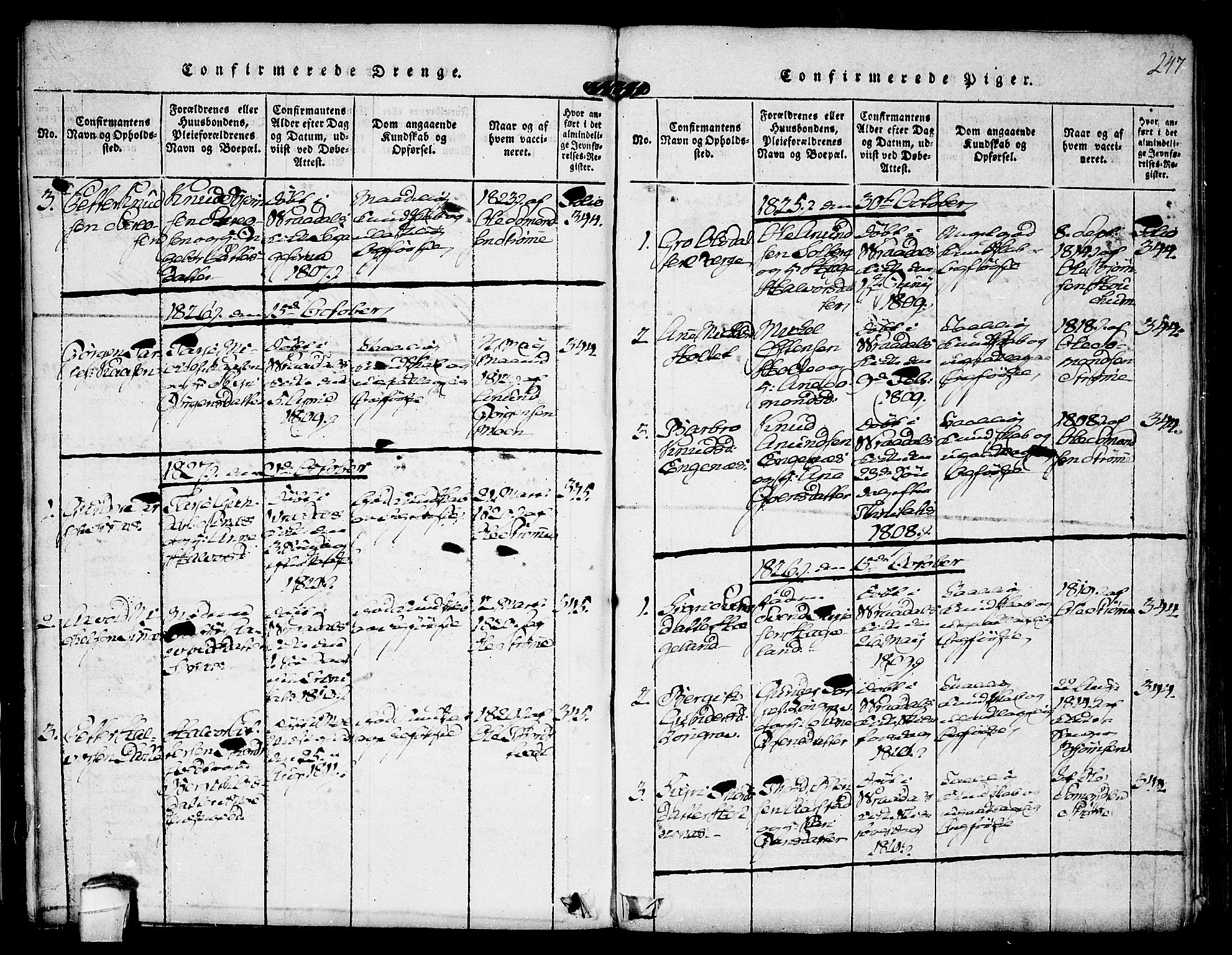 SAKO, Kviteseid kirkebøker, F/Fc/L0001: Ministerialbok nr. III 1, 1815-1836, s. 247
