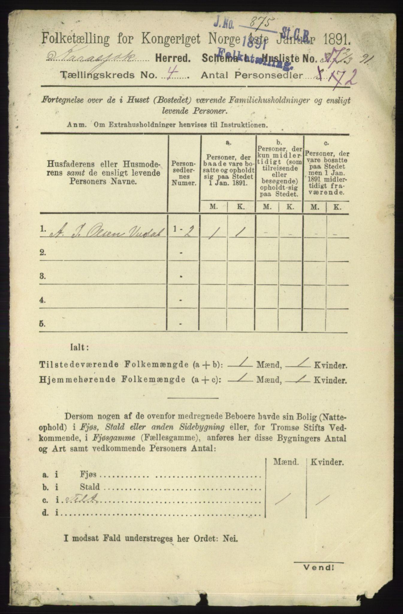 RA, Folketelling 1891 for 2021 Karasjok herred, 1891, s. 691
