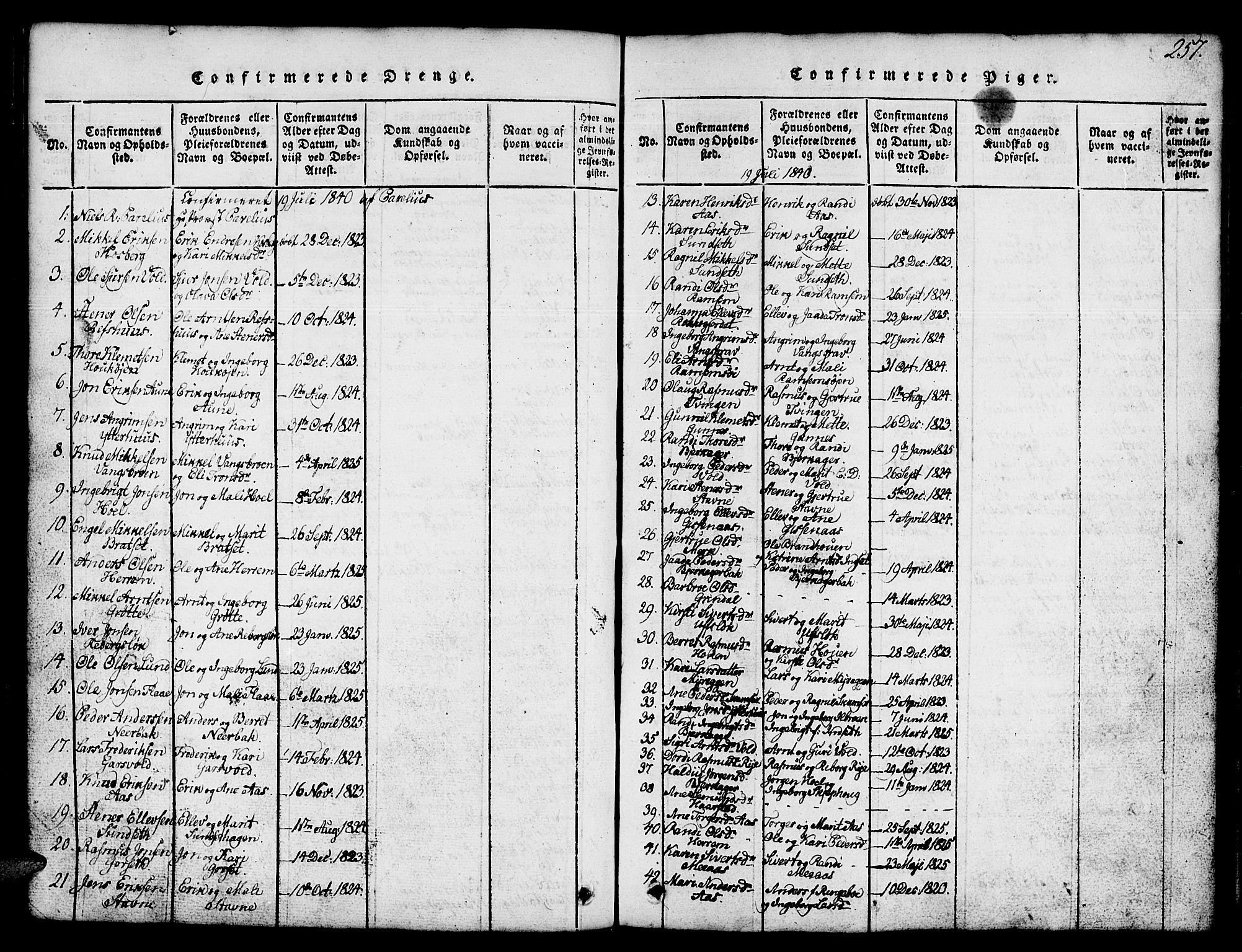 SAT, Ministerialprotokoller, klokkerbøker og fødselsregistre - Sør-Trøndelag, 674/L0874: Klokkerbok nr. 674C01, 1816-1860, s. 257