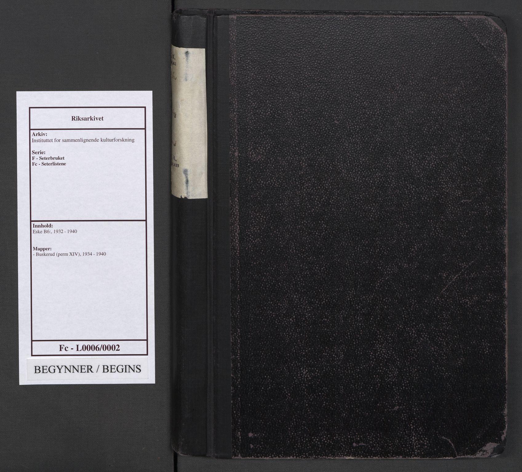 RA, Instituttet for sammenlignende kulturforskning, F/Fc/L0006: Eske B6:, 1934-1940, s. upaginert