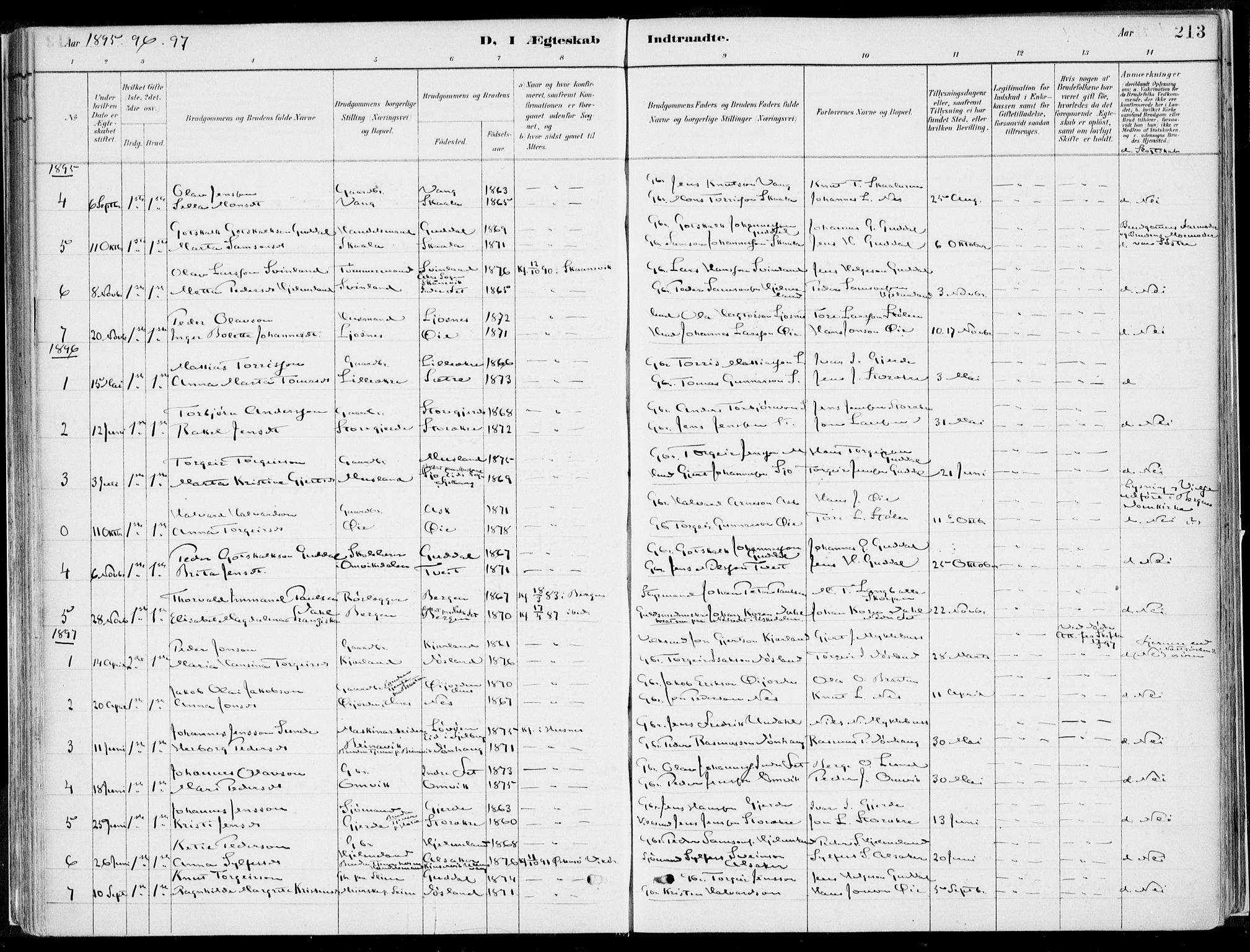 SAB, Kvinnherad Sokneprestembete, H/Haa: Ministerialbok nr. B  1, 1887-1921, s. 213