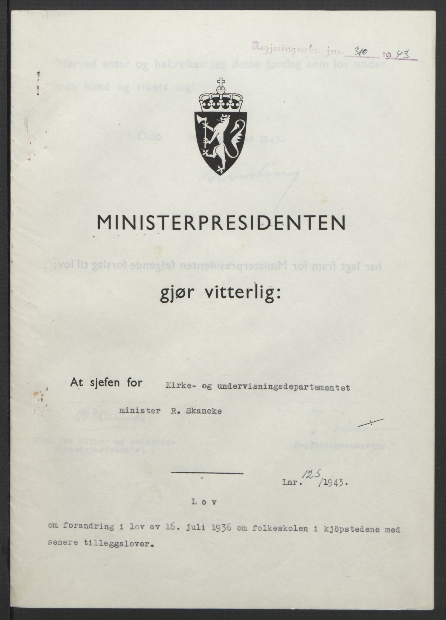 RA, NS-administrasjonen 1940-1945 (Statsrådsekretariatet, de kommisariske statsråder mm), D/Db/L0099: Lover, 1943, s. 580