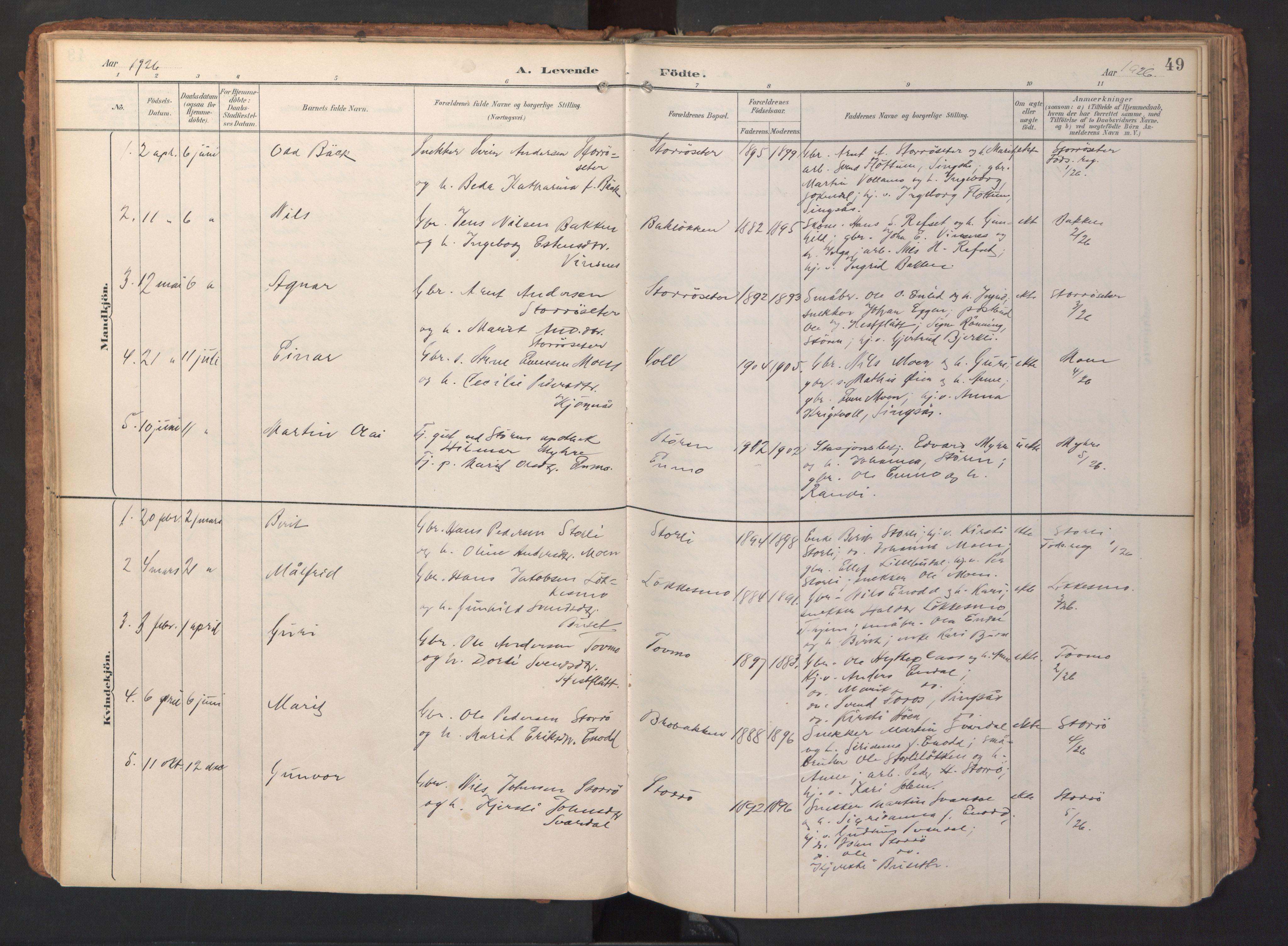 SAT, Ministerialprotokoller, klokkerbøker og fødselsregistre - Sør-Trøndelag, 690/L1050: Ministerialbok nr. 690A01, 1889-1929, s. 49