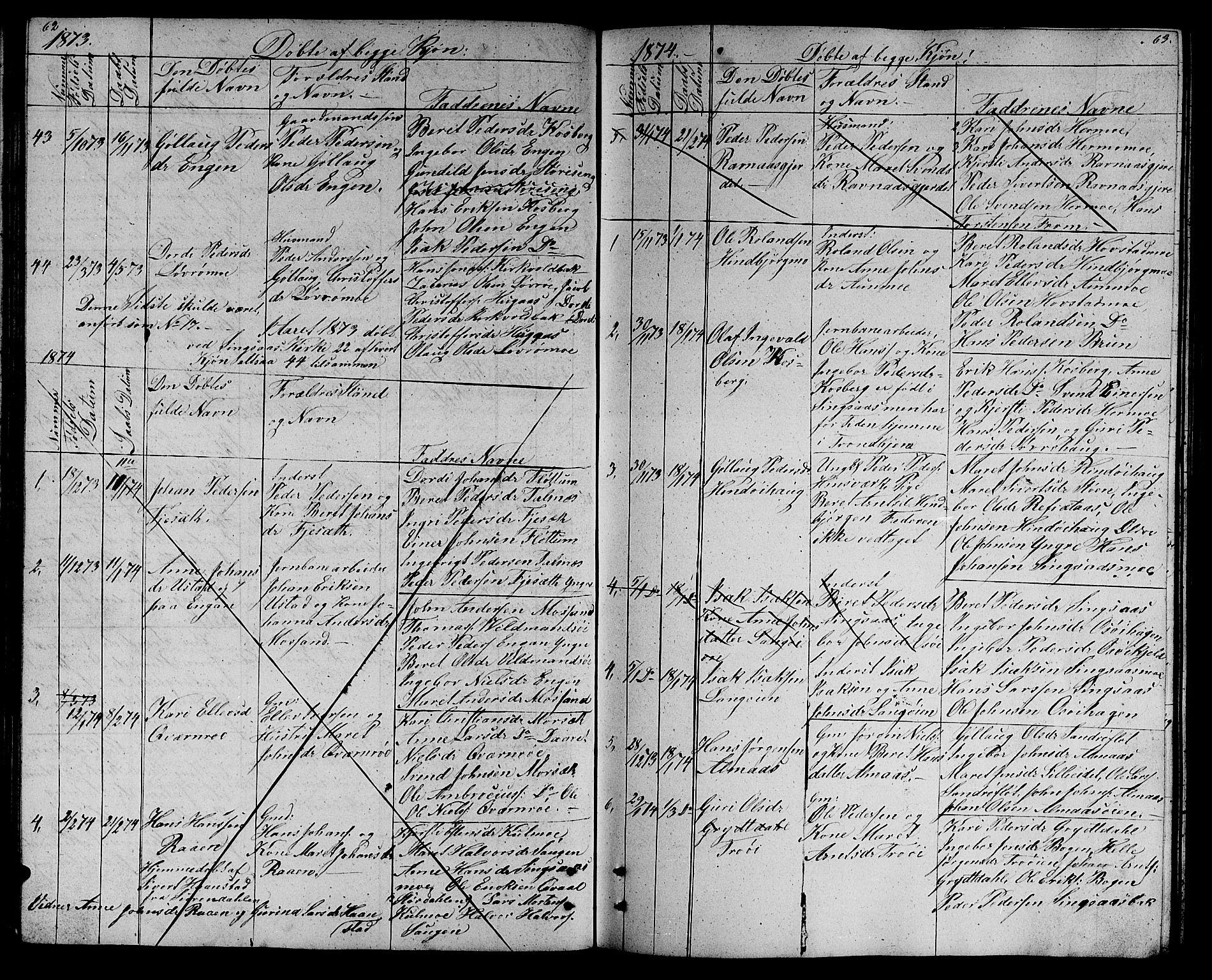 SAT, Ministerialprotokoller, klokkerbøker og fødselsregistre - Sør-Trøndelag, 688/L1027: Klokkerbok nr. 688C02, 1861-1889, s. 62-63