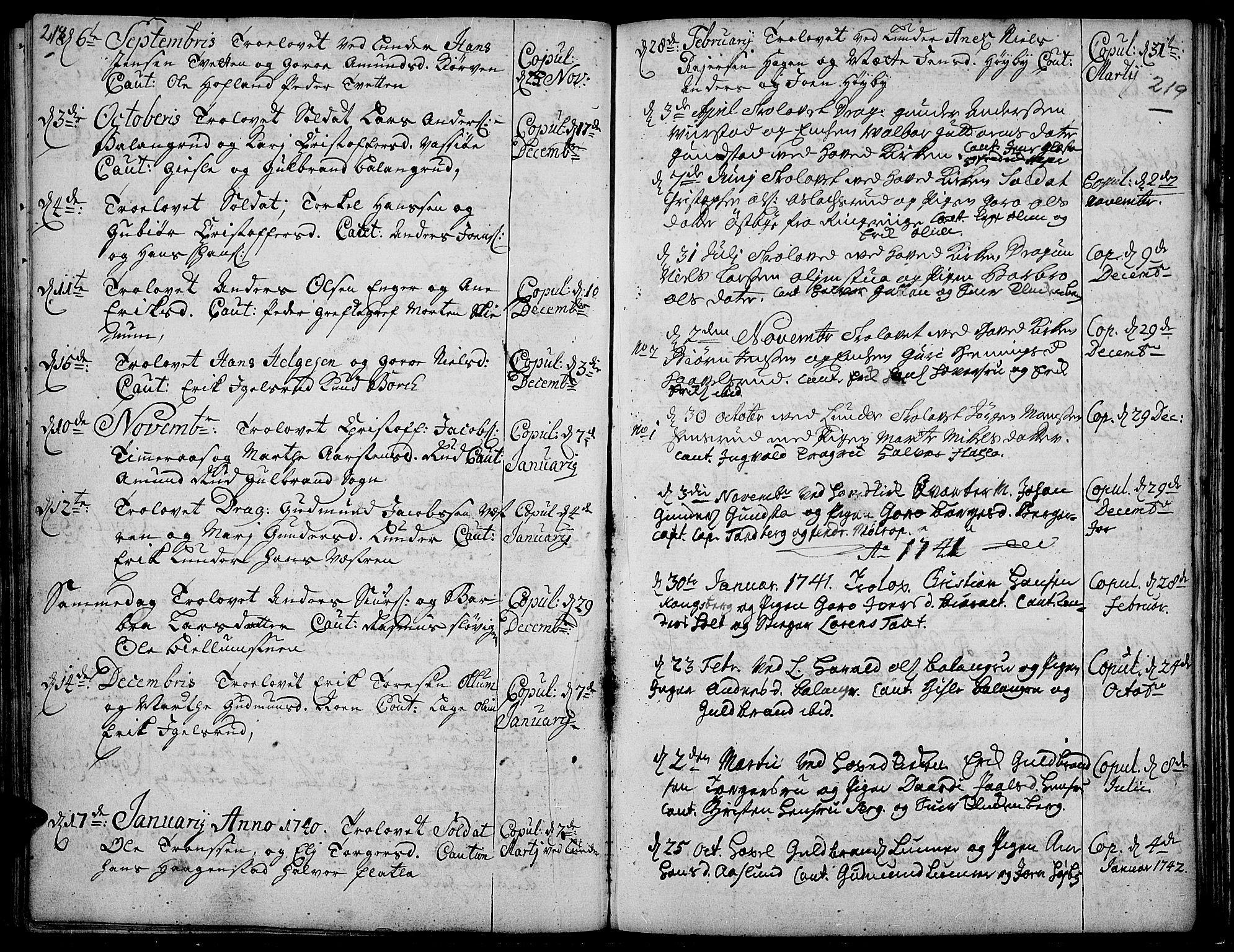 SAH, Jevnaker prestekontor, Ministerialbok nr. 2, 1725-1751, s. 218-219