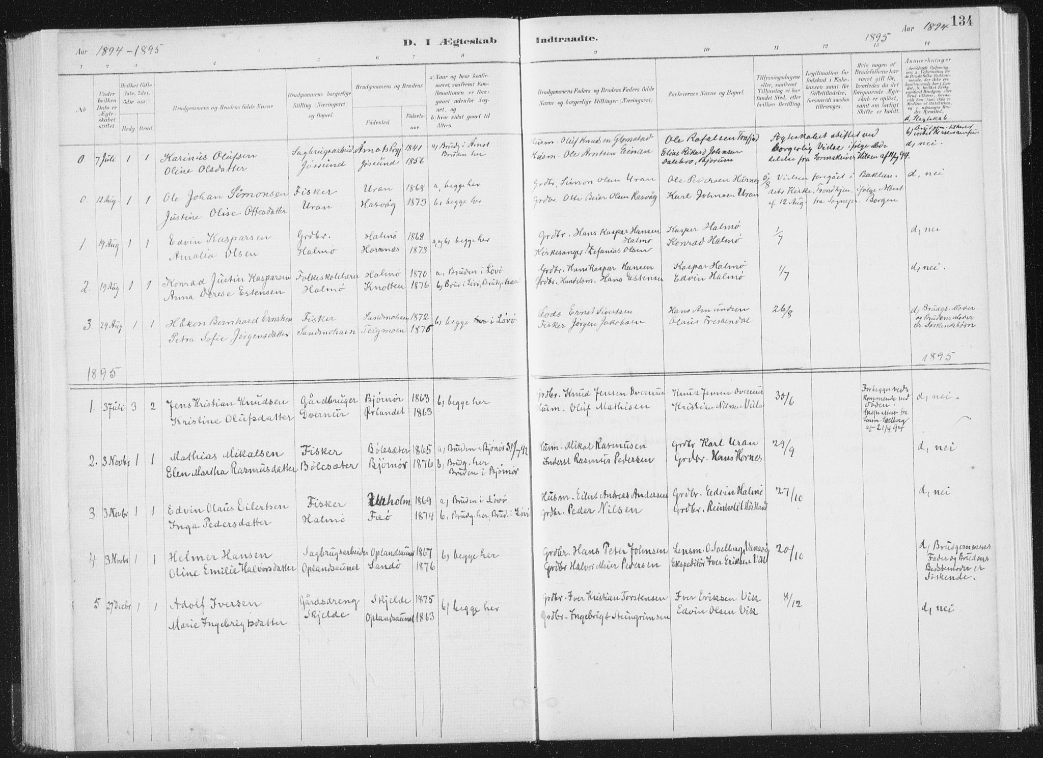 SAT, Ministerialprotokoller, klokkerbøker og fødselsregistre - Nord-Trøndelag, 771/L0597: Ministerialbok nr. 771A04, 1885-1910, s. 134