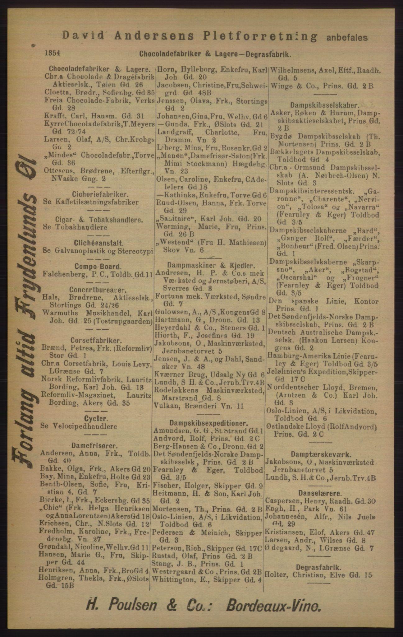 RA, Kristiania adressebok (publikasjon)*, 1905, s. 1354