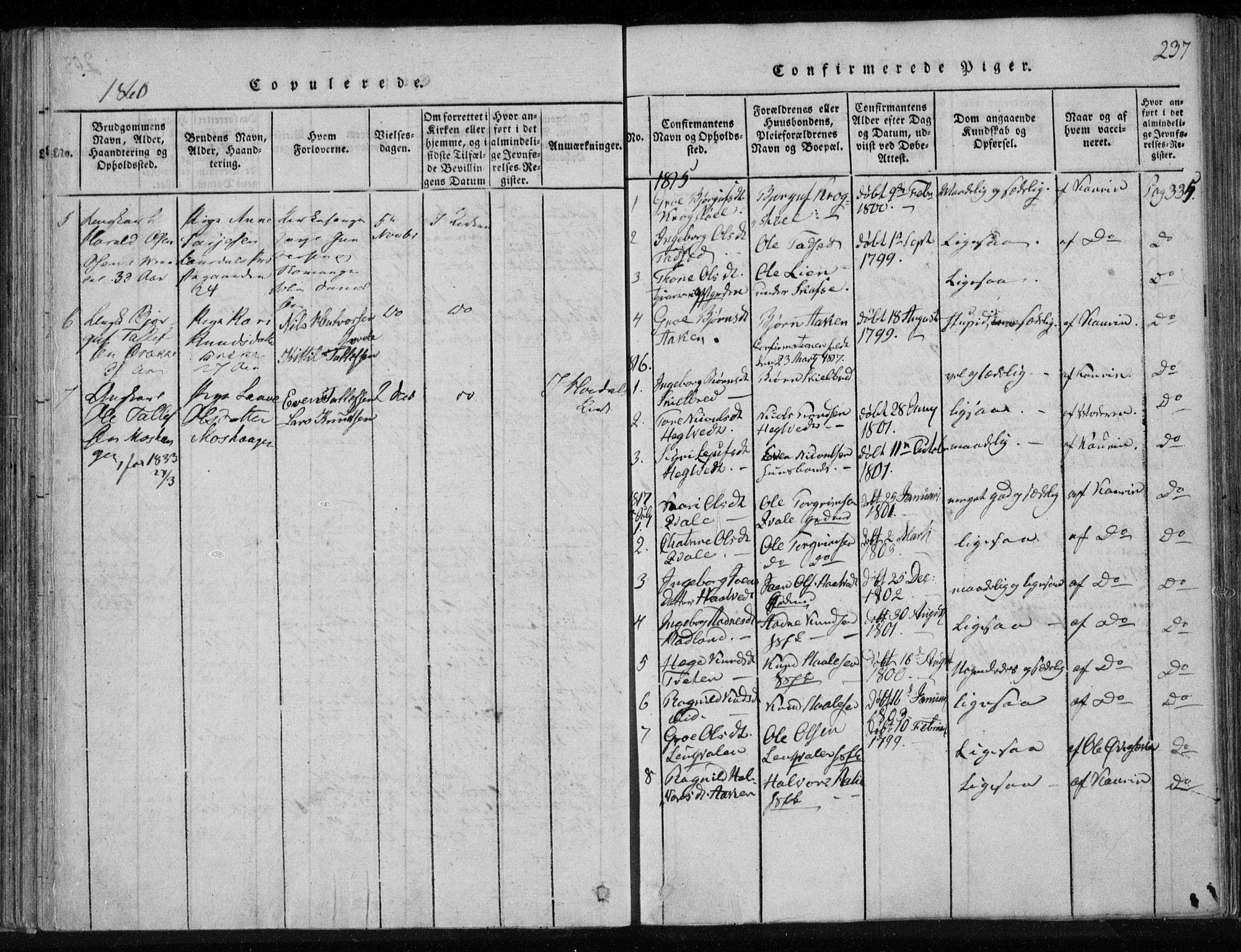 SAKO, Lårdal kirkebøker, F/Fa/L0005: Ministerialbok nr. I 5, 1815-1860, s. 237