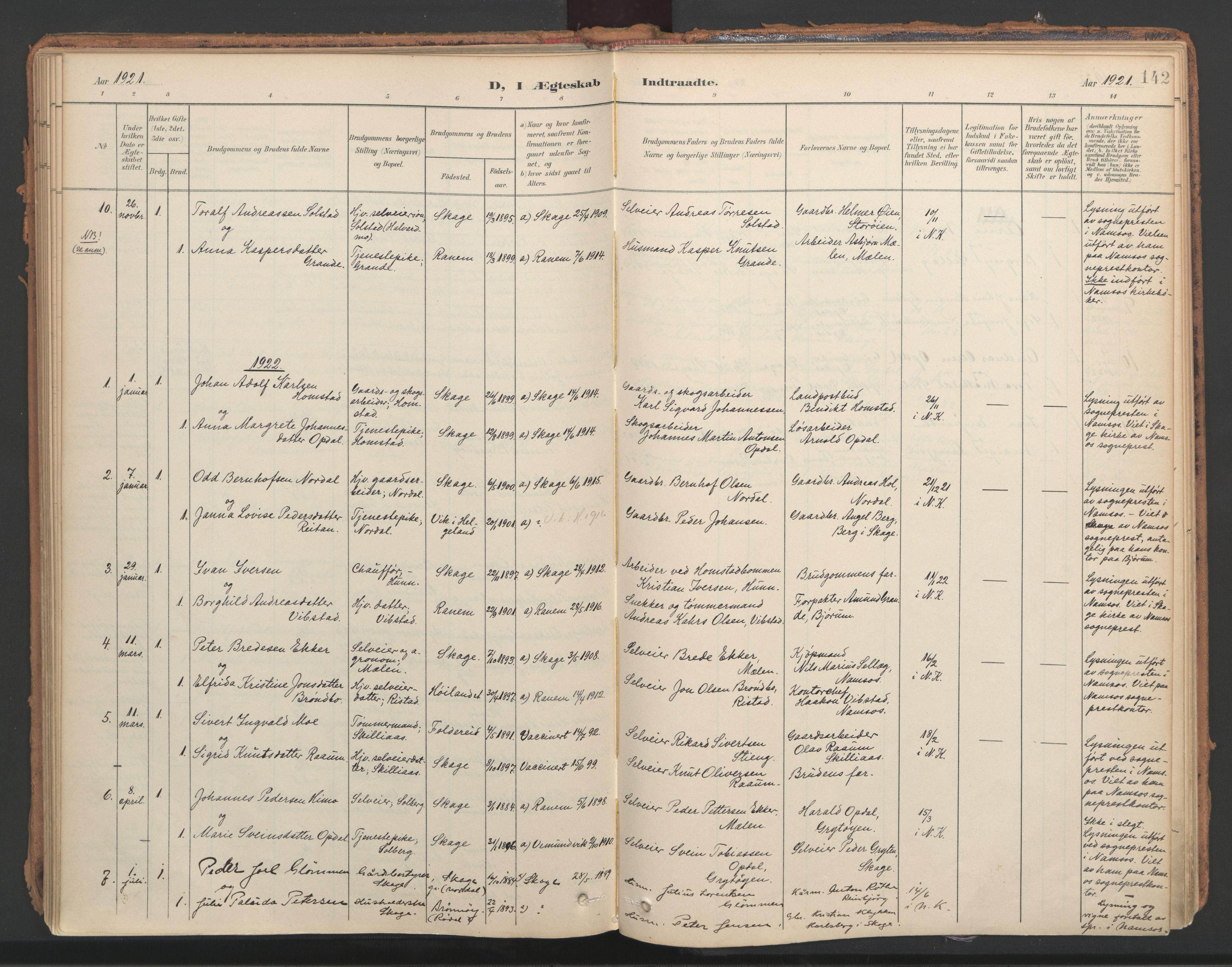 SAT, Ministerialprotokoller, klokkerbøker og fødselsregistre - Nord-Trøndelag, 766/L0564: Ministerialbok nr. 767A02, 1900-1932, s. 142