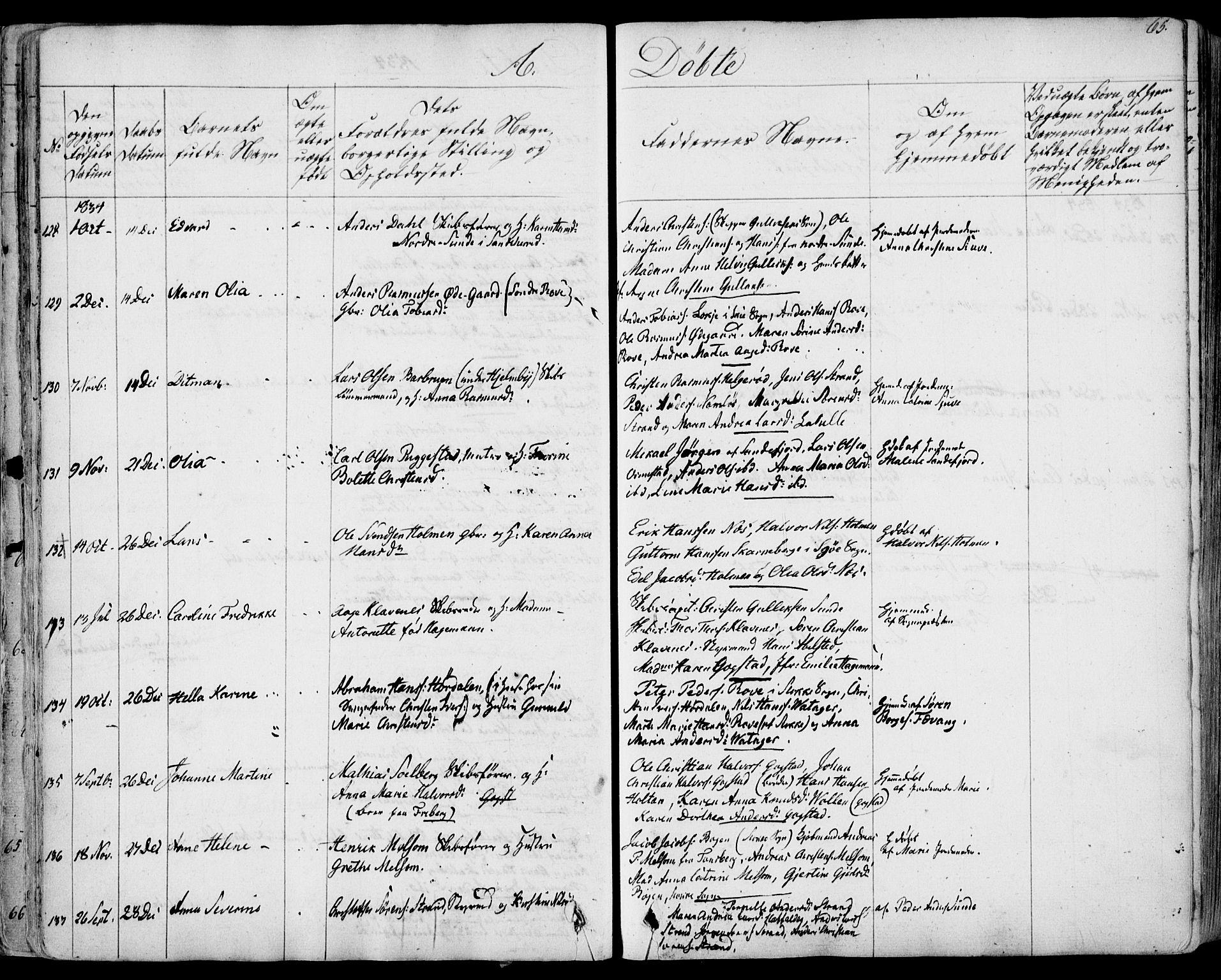 SAKO, Sandar kirkebøker, F/Fa/L0005: Ministerialbok nr. 5, 1832-1847, s. 64-65