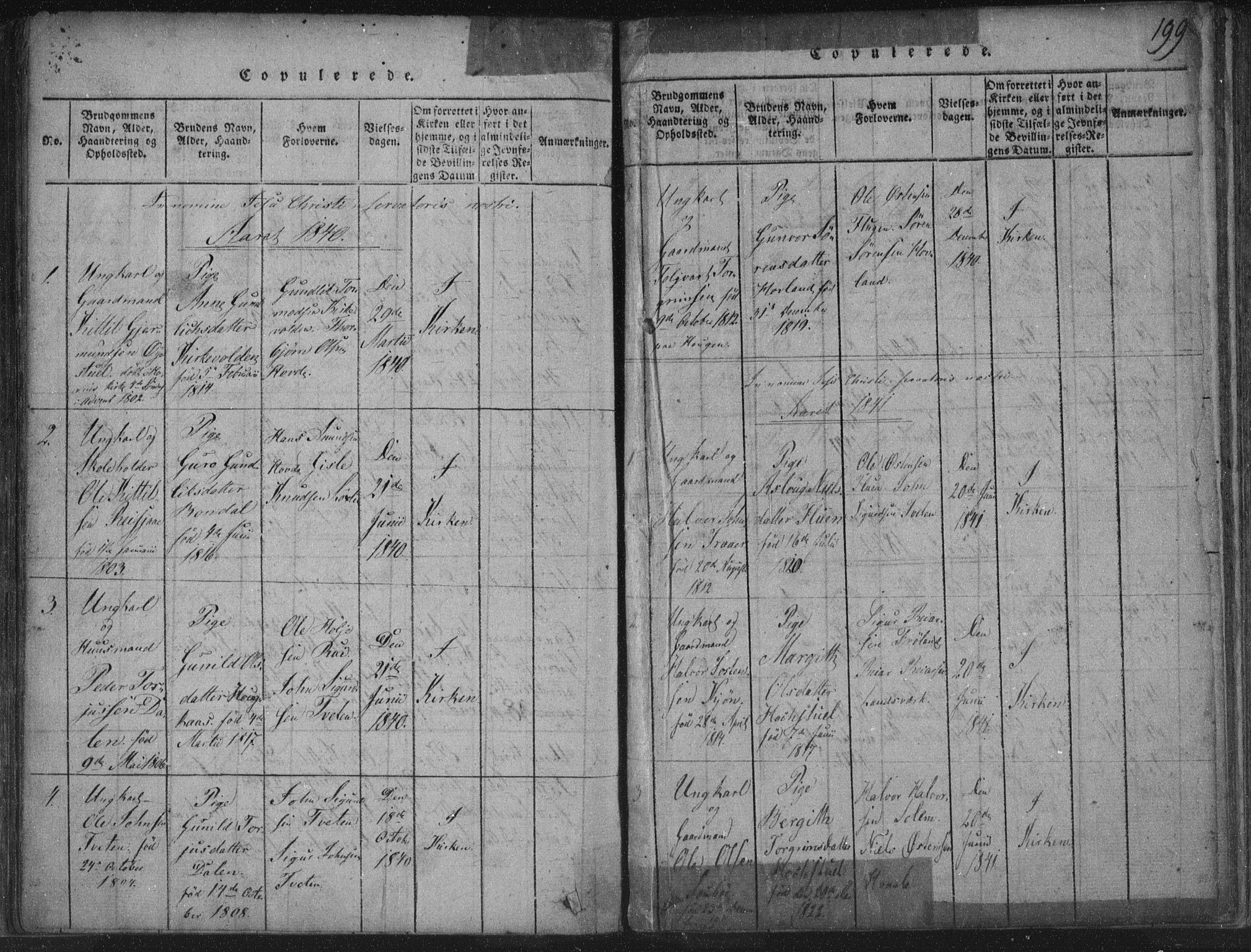 SAKO, Hjartdal kirkebøker, F/Fc/L0001: Ministerialbok nr. III 1, 1815-1843, s. 199