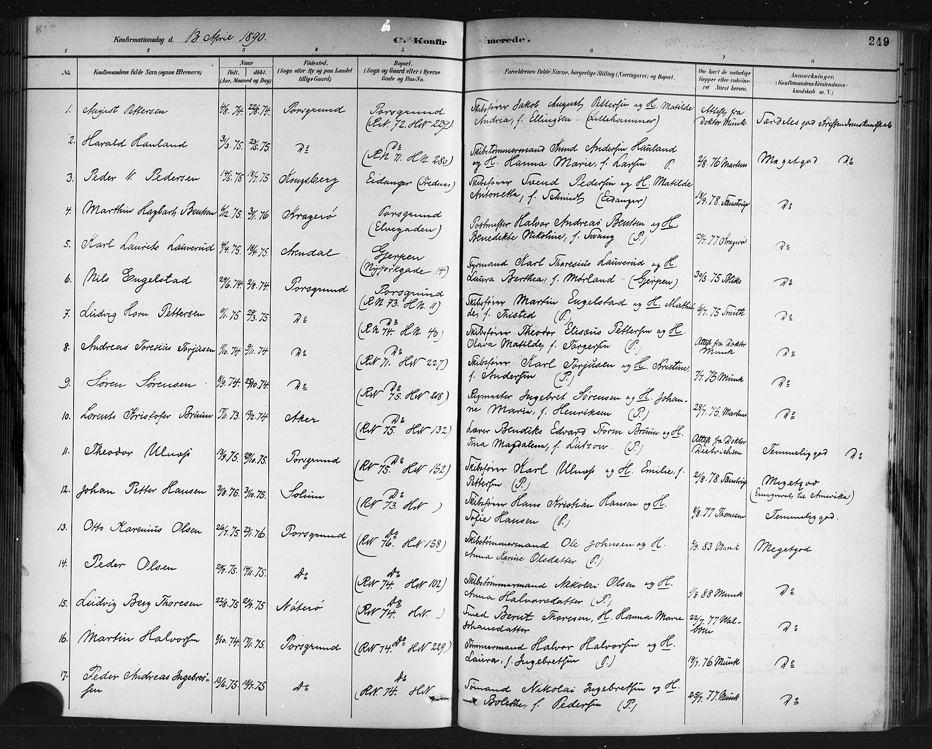 SAKO, Porsgrunn kirkebøker , G/Gb/L0005: Klokkerbok nr. II 5, 1883-1915, s. 249