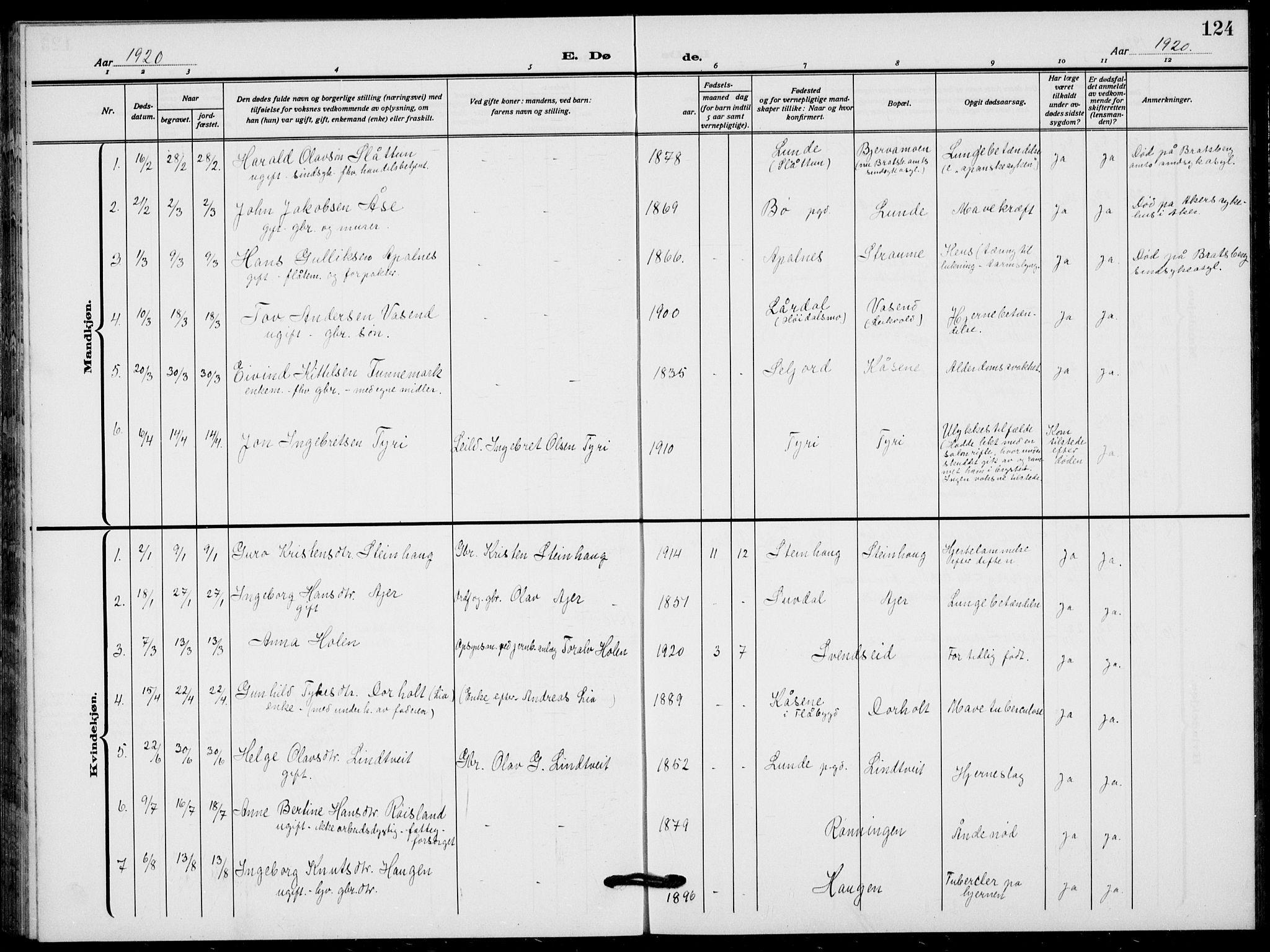 SAKO, Lunde kirkebøker, F/Fa/L0005: Ministerialbok nr. I 5, 1914-1922, s. 124