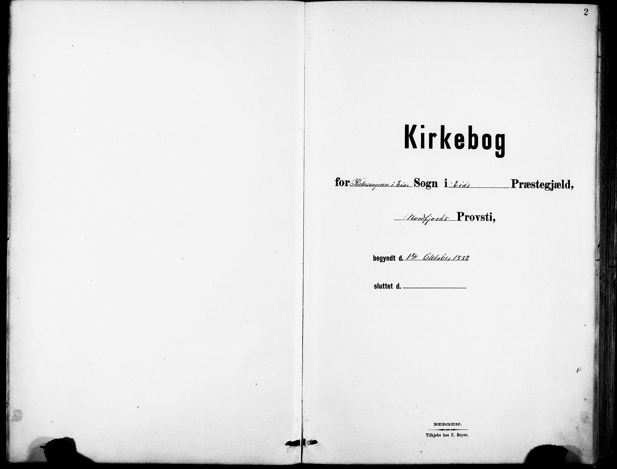 SAB, Eid Sokneprestembete, H/Hab: Klokkerbok nr. B 2, 1882-1907, s. 2