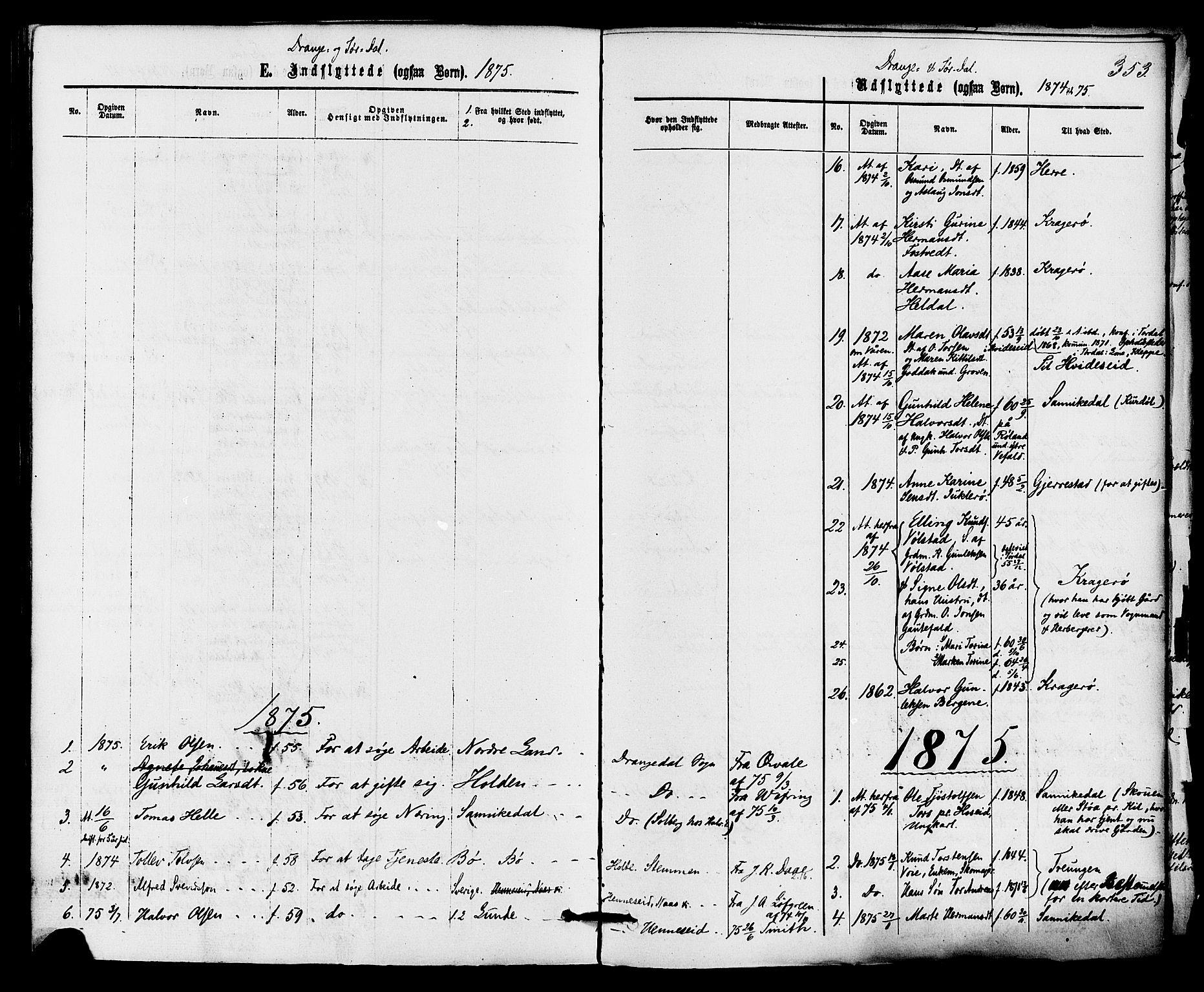 SAKO, Drangedal kirkebøker, F/Fa/L0009: Ministerialbok nr. 9 /1, 1872-1884, s. 353
